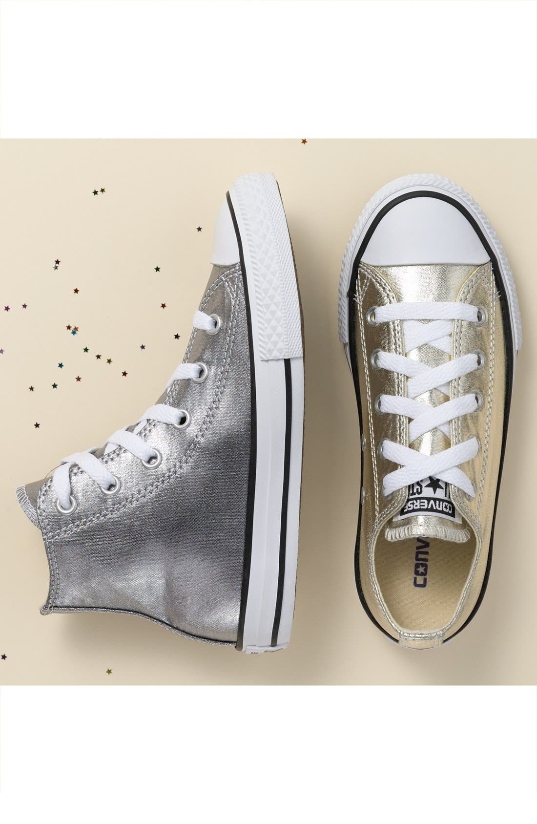 Chuck Taylor<sup>®</sup> All Star<sup>®</sup> Metallic Sneaker,                             Alternate thumbnail 5, color,                             LIGHT GOLD/ WHITE