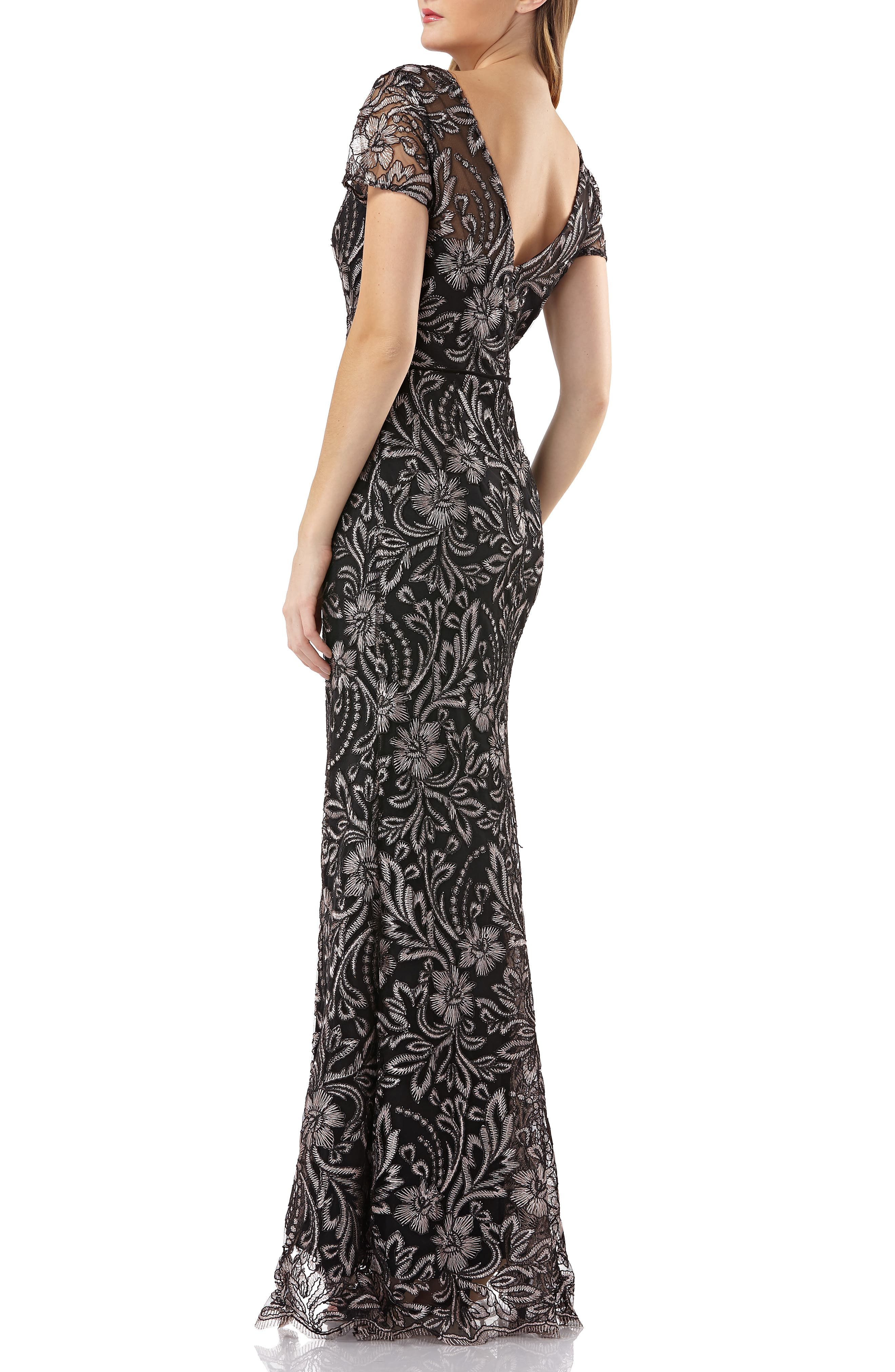 JS COLLECTIONS,                             Embroidered Trumpet Gown,                             Alternate thumbnail 2, color,                             001