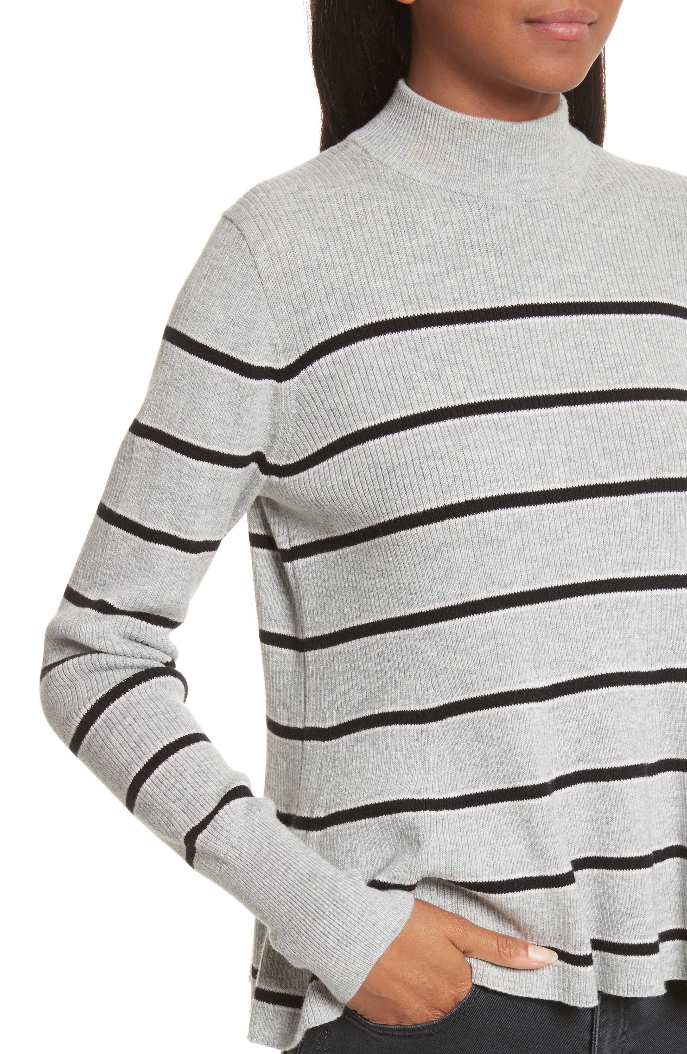 Mock Neck Stripe Pullover,                             Alternate thumbnail 4, color,                             663