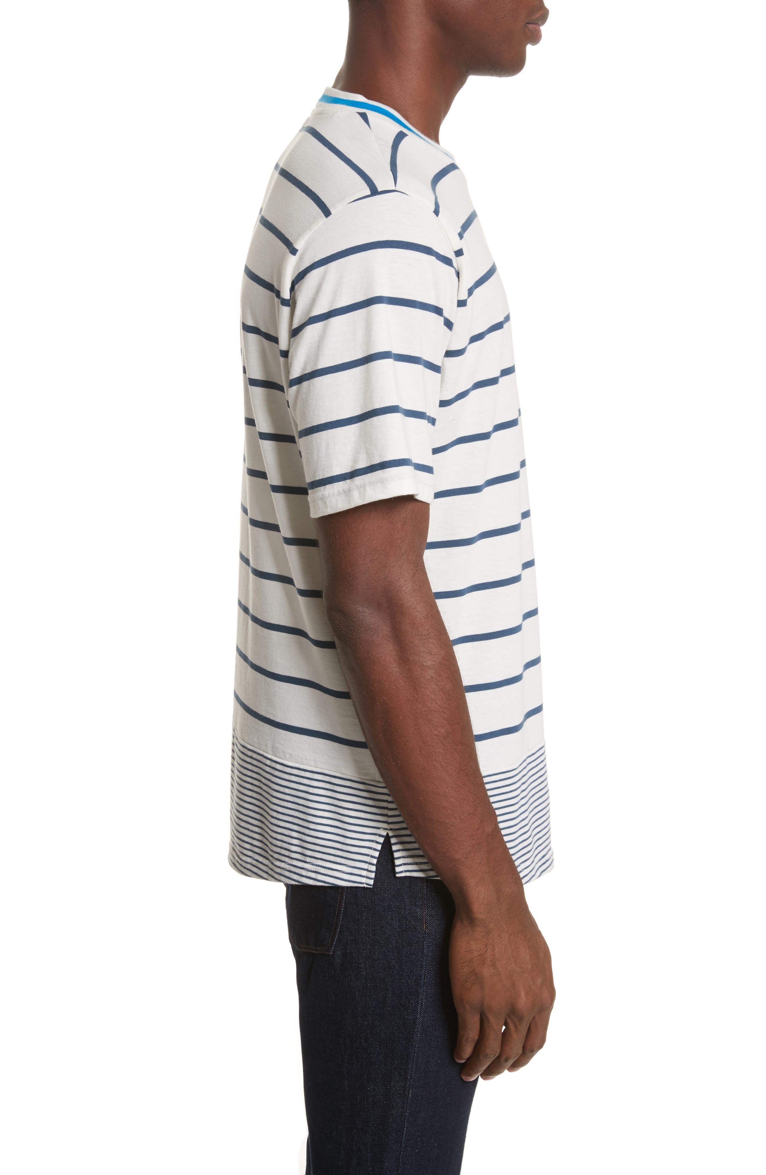 Mixed Stripe Pocket T-Shirt,                             Alternate thumbnail 3, color,                             435