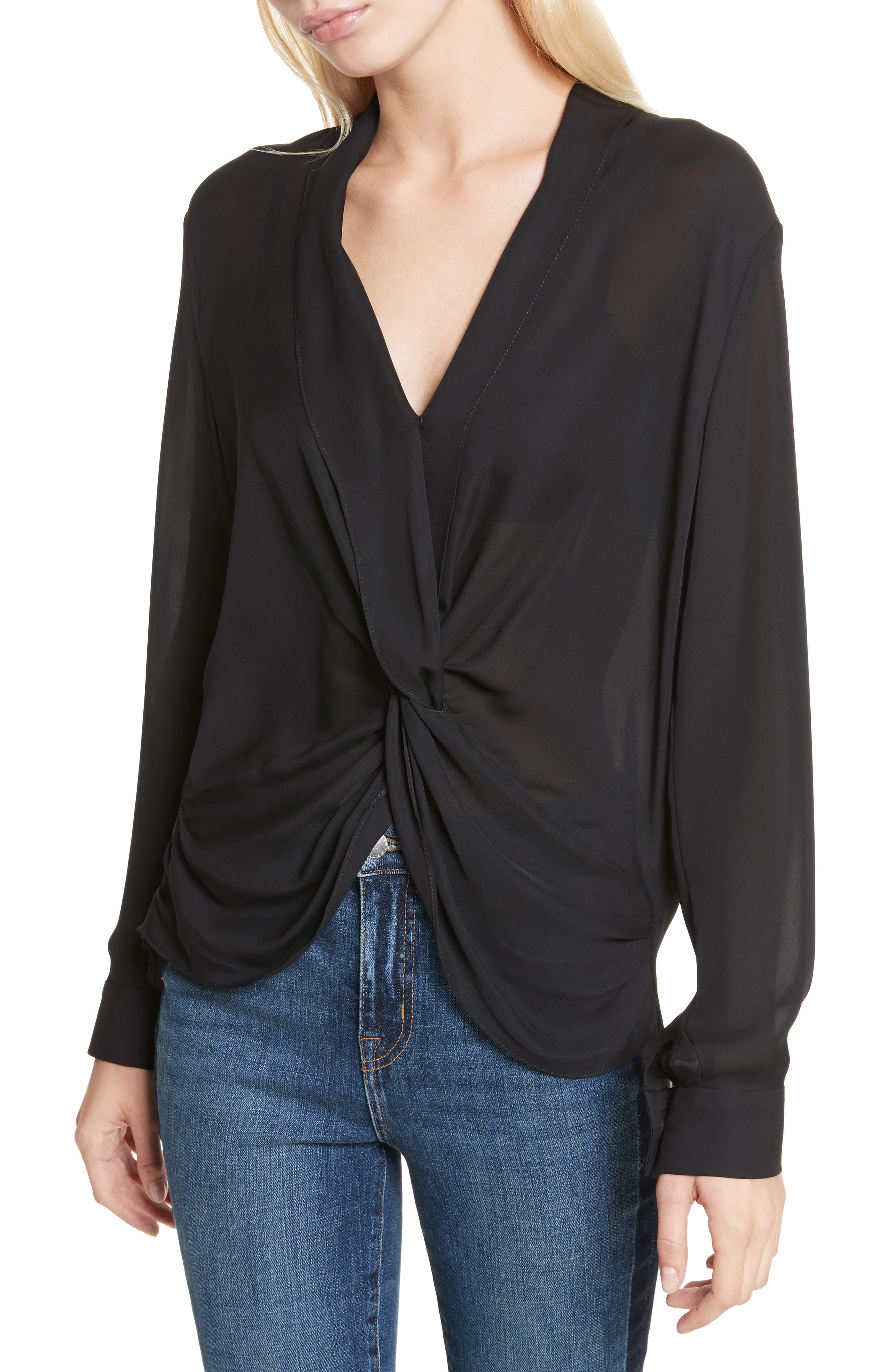 Twist Front Silk Blouse,                         Main,                         color, 001