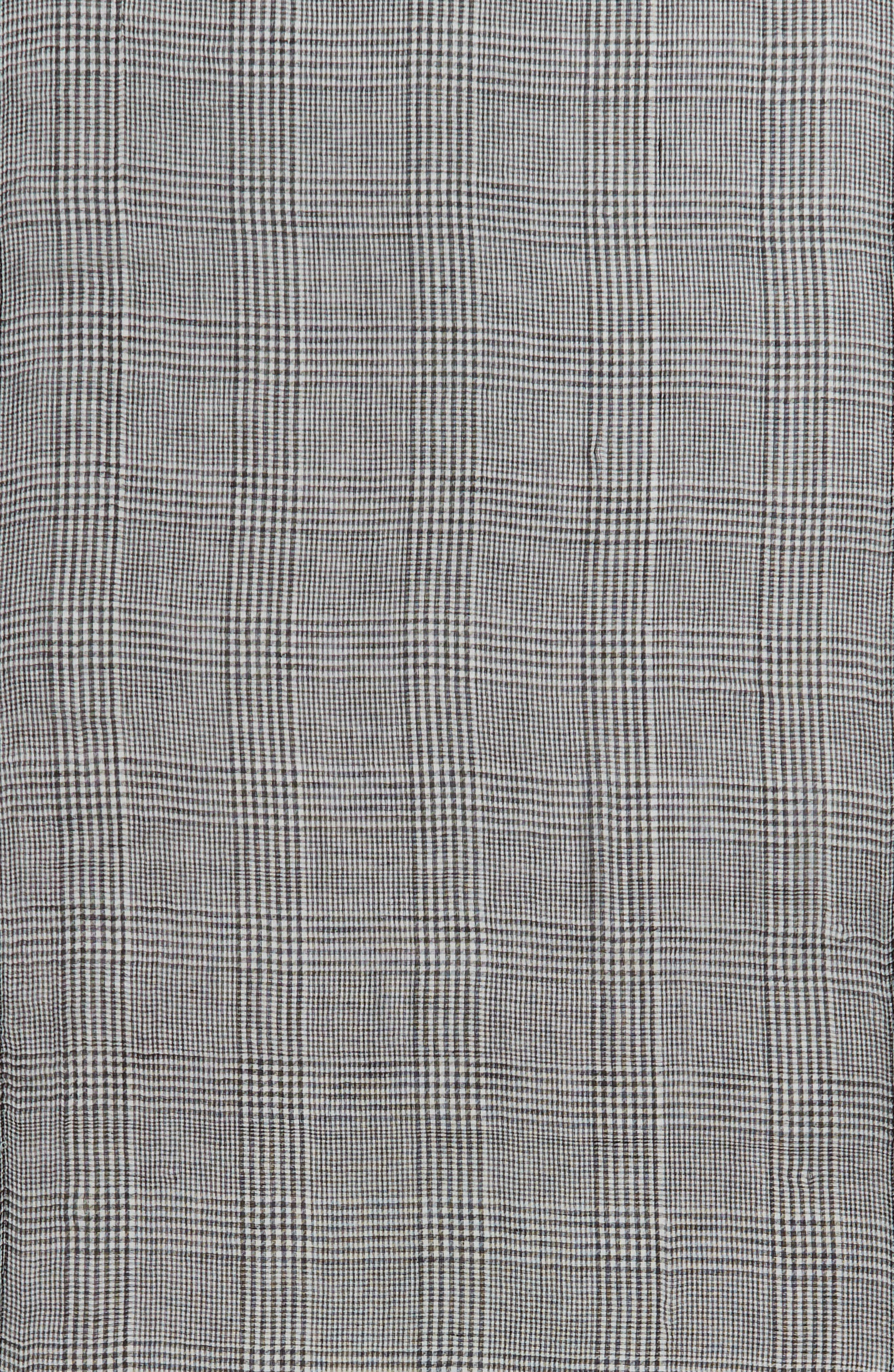 Menswear Plaid Oblong Scarf,                             Alternate thumbnail 4, color,                             GREY MULTI
