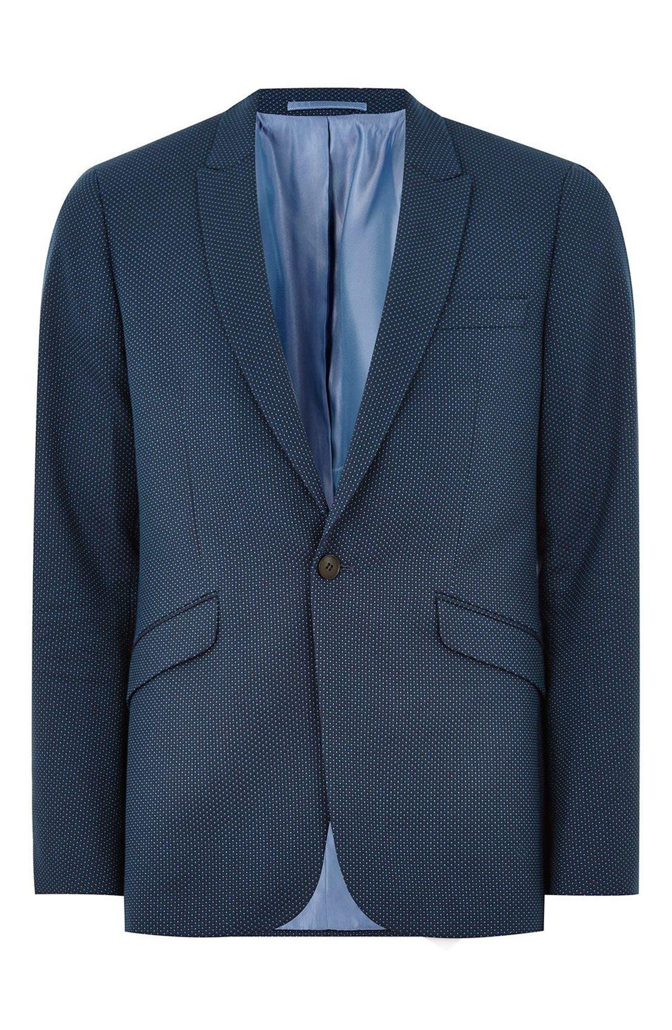 Skinny Fit Pin Dot Suit Jacket,                             Alternate thumbnail 4, color,                             DARK BLUE