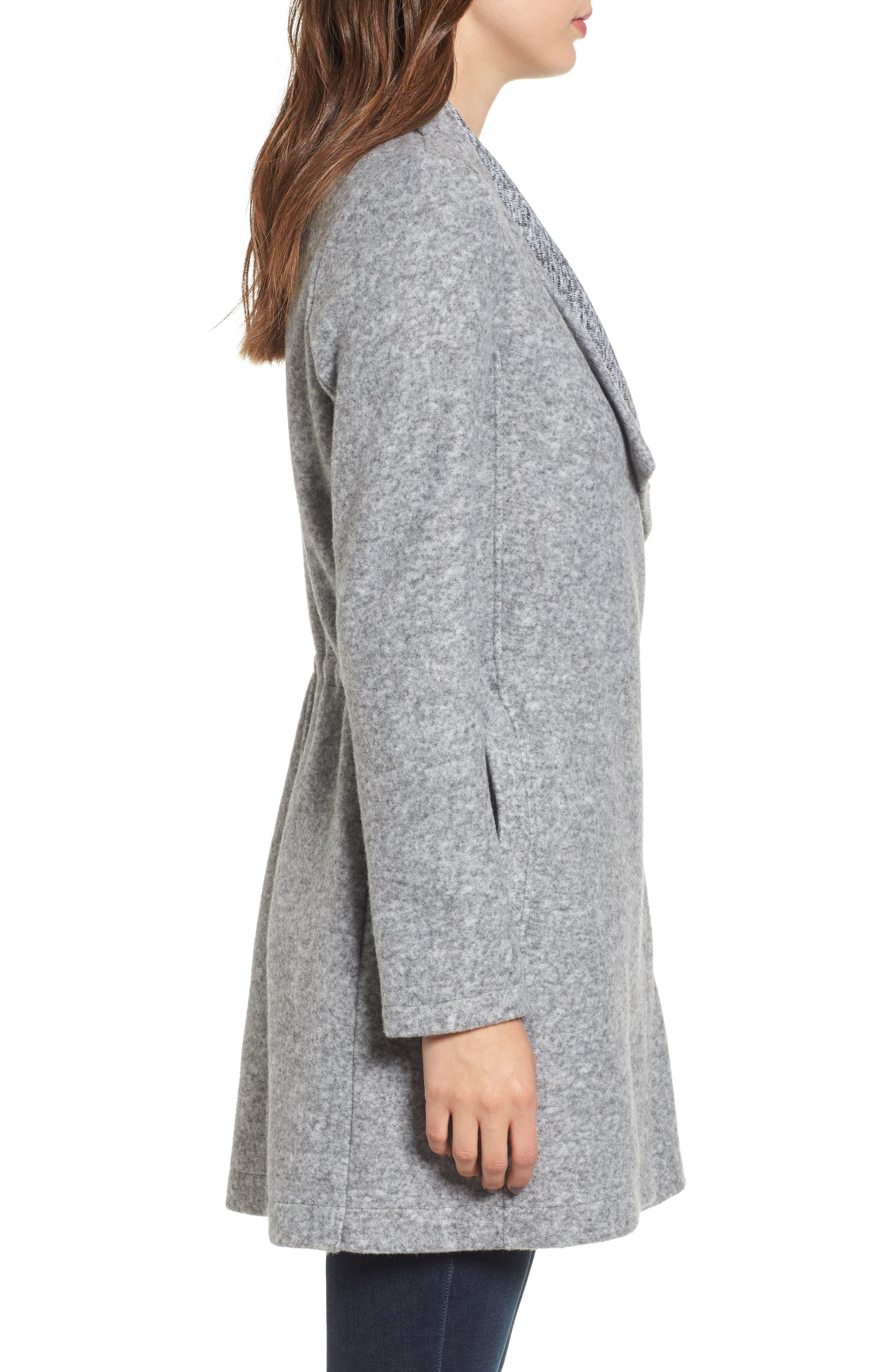 Maggie Brushed Fleece Drape Collar Coat,                             Alternate thumbnail 8, color,