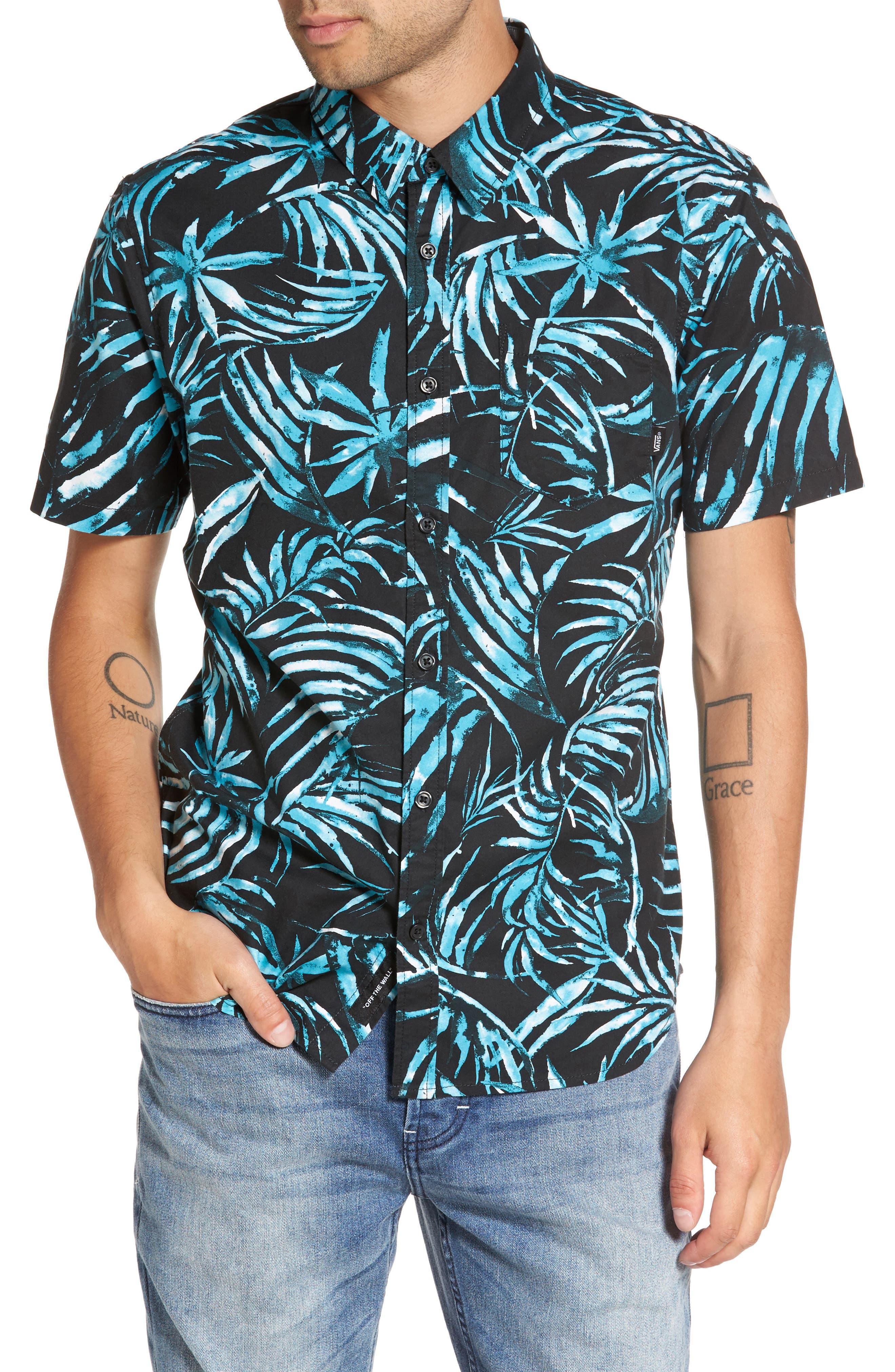 Del Playa Palm Print Woven Shirt,                             Main thumbnail 1, color,                             001