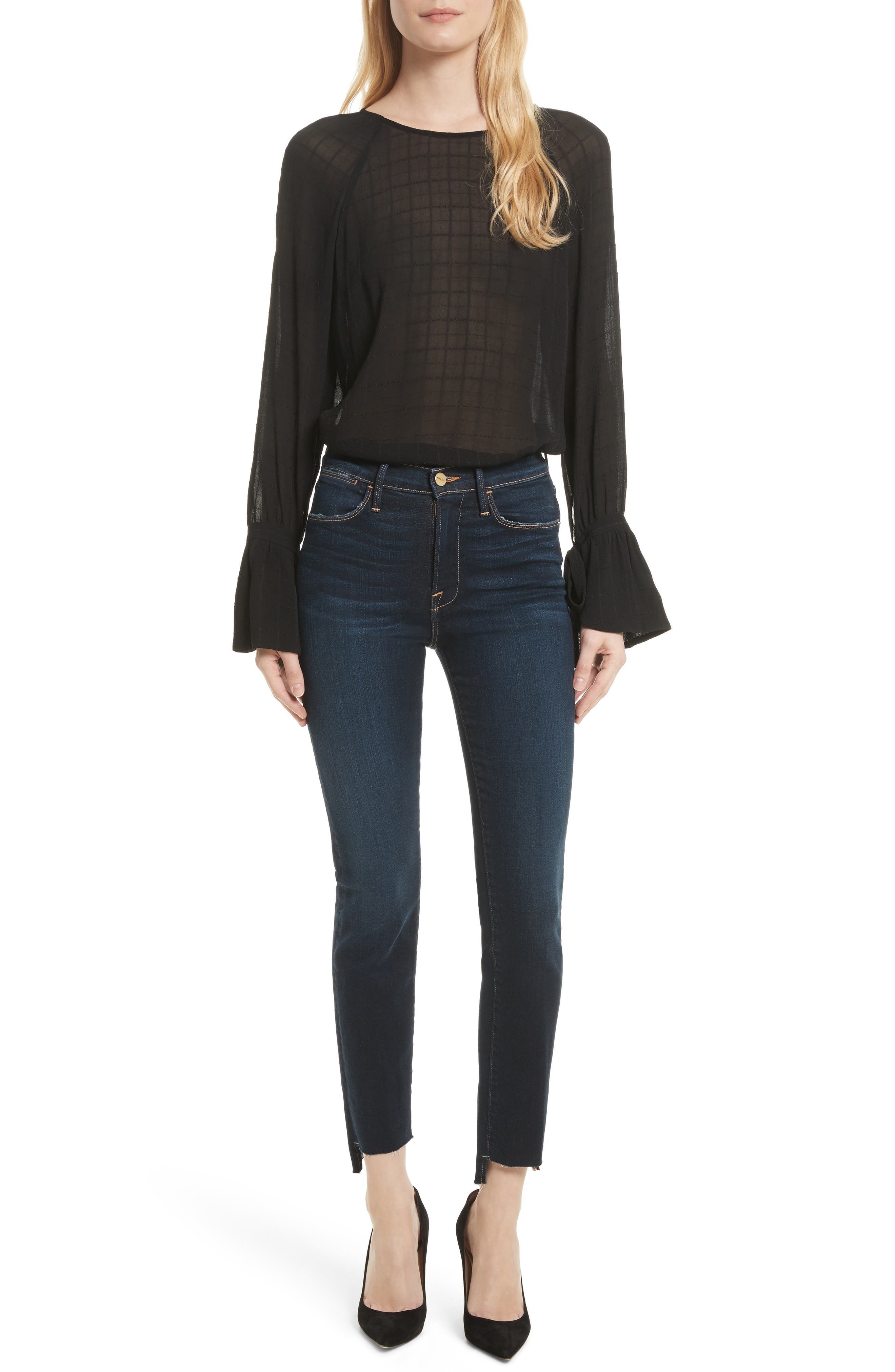 Le High Straight Raw Stagger Jeans,                             Alternate thumbnail 6, color,                             402