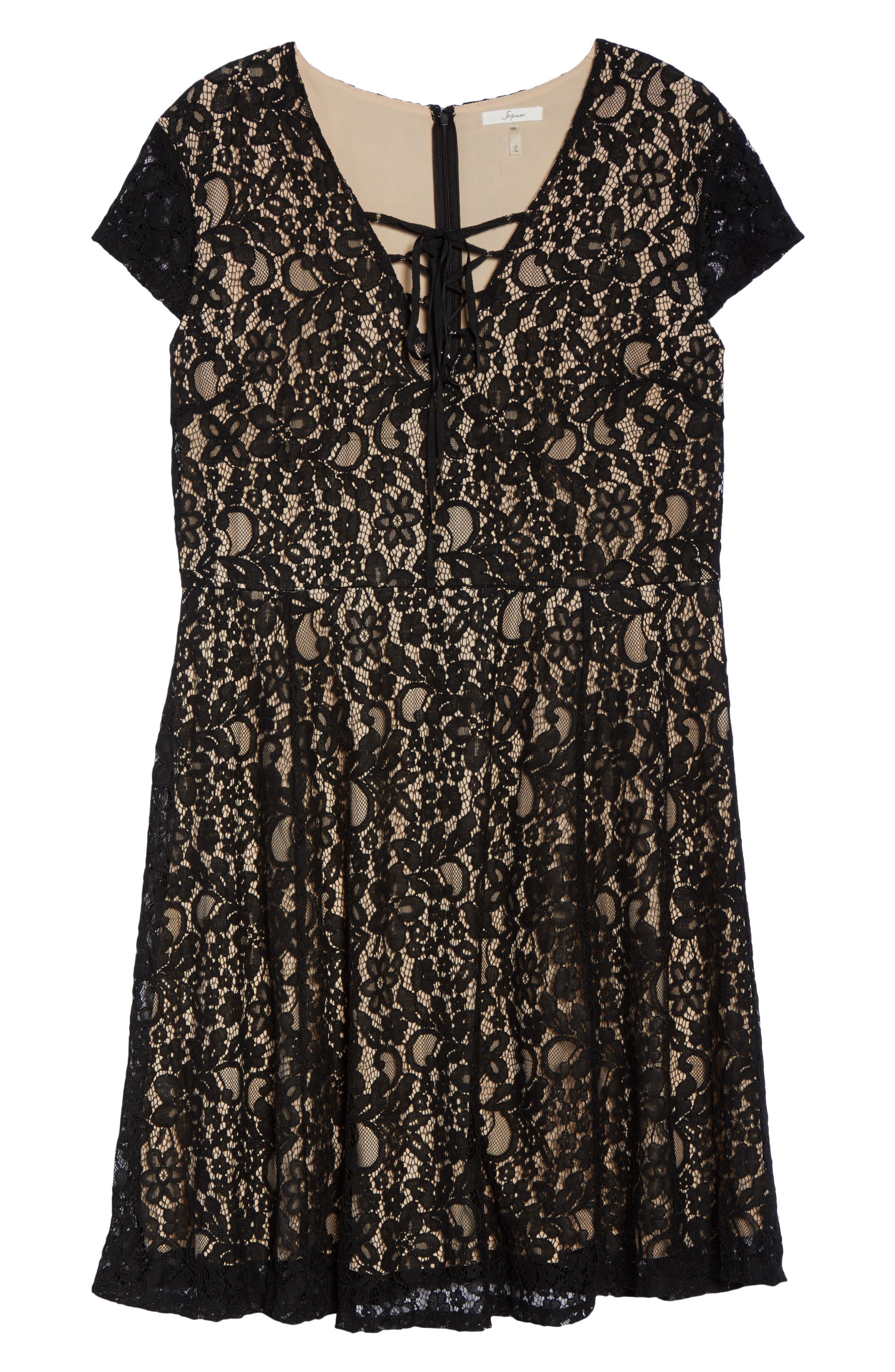 Tie Front Lace Dress,                             Alternate thumbnail 6, color,                             001