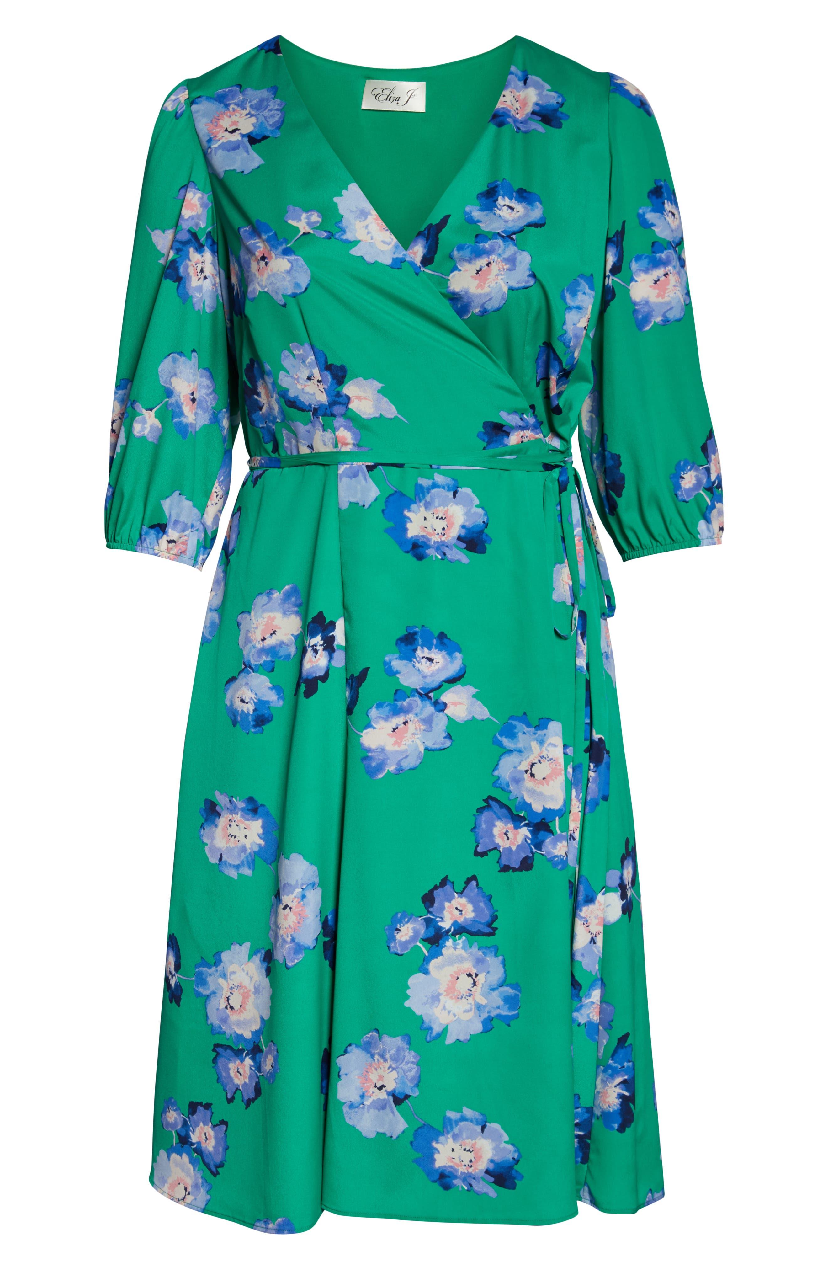 Blouson Sleeve Wrap Midi Dress,                             Alternate thumbnail 7, color,                             GREEN