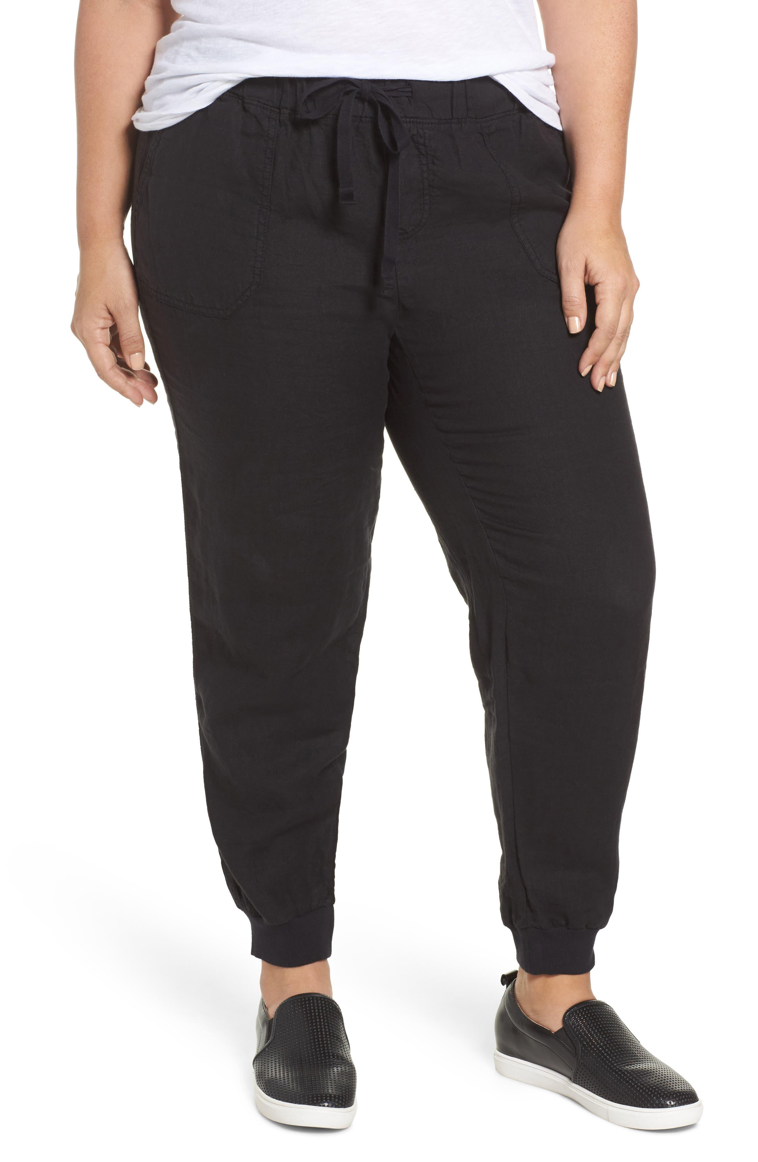 CASLON<SUP>®</SUP> Drawstring Linen Joggers, Main, color, BLACK