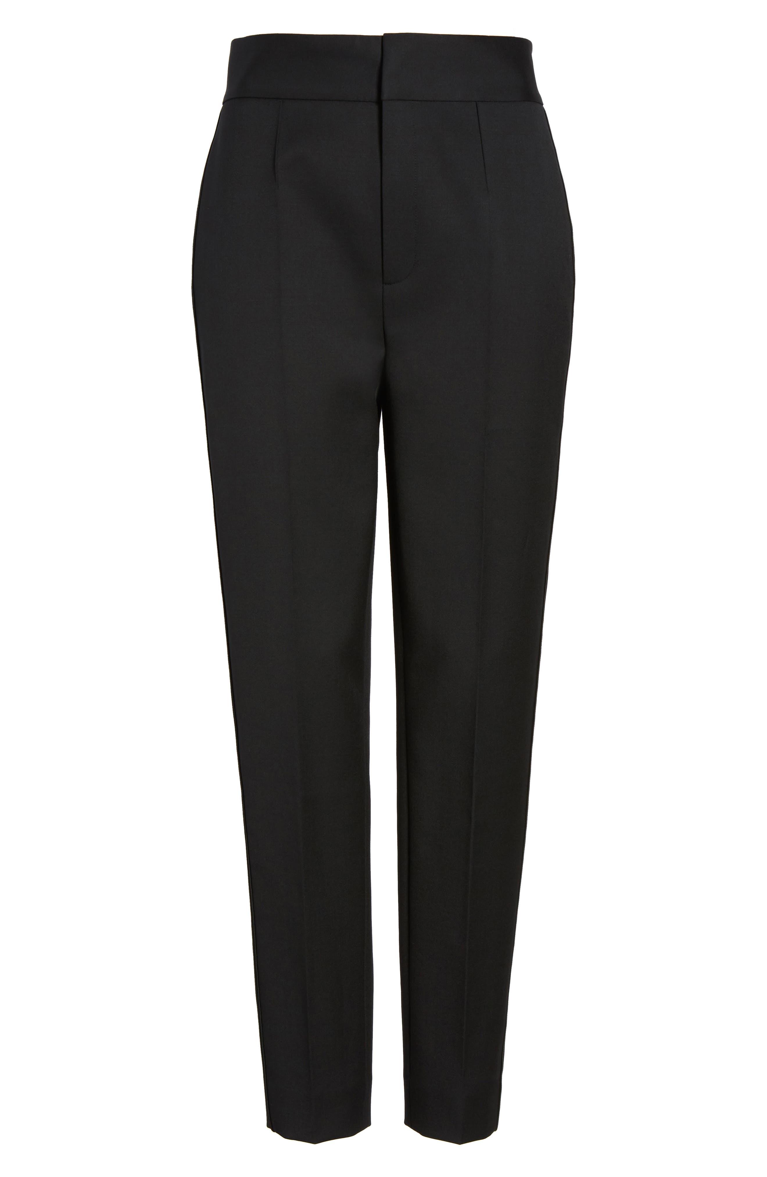 Tuxedo Detail Suit Trousers,                             Alternate thumbnail 6, color,                             001