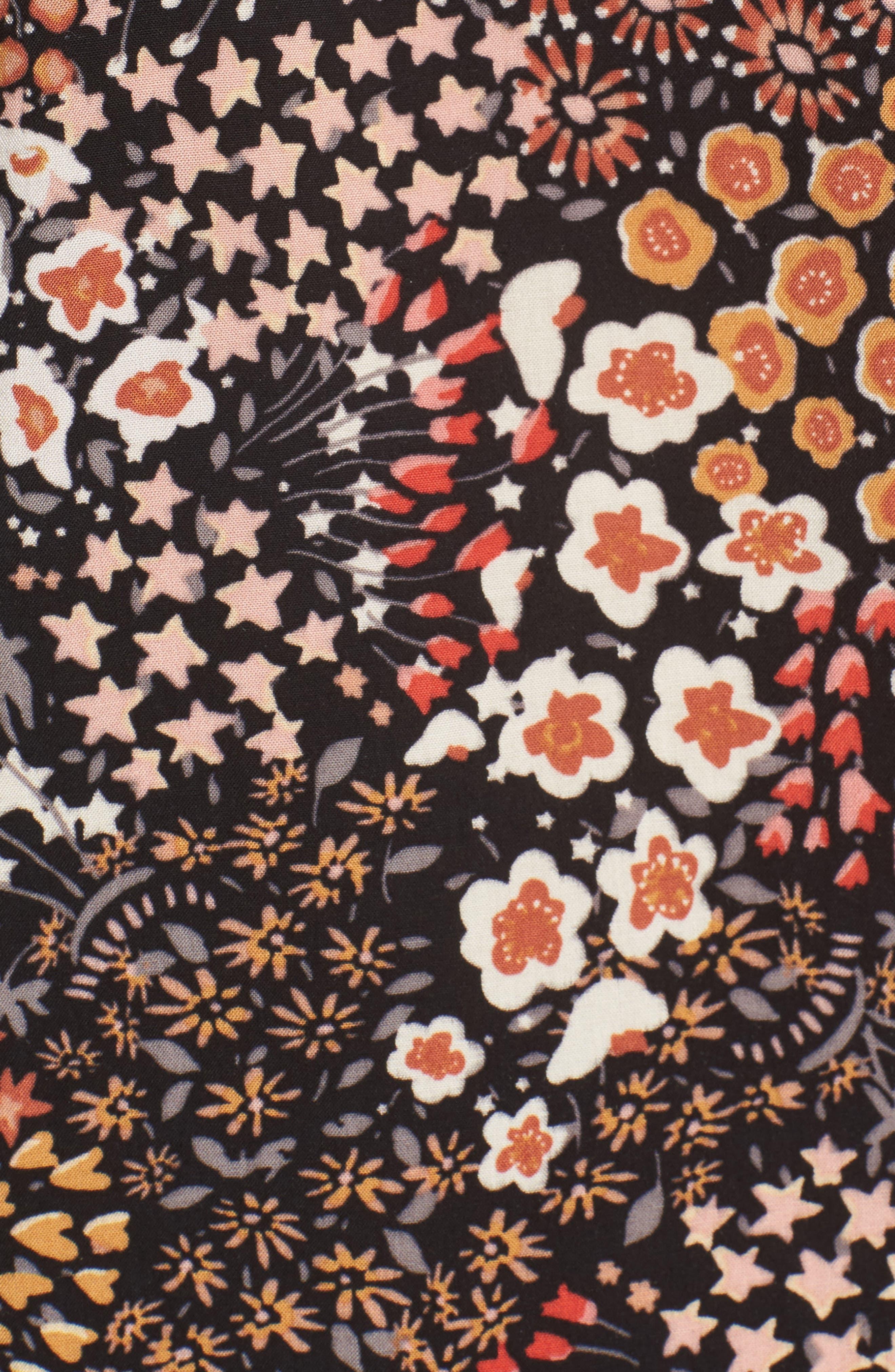 Floral V-Neck Top,                             Alternate thumbnail 5, color,                             001