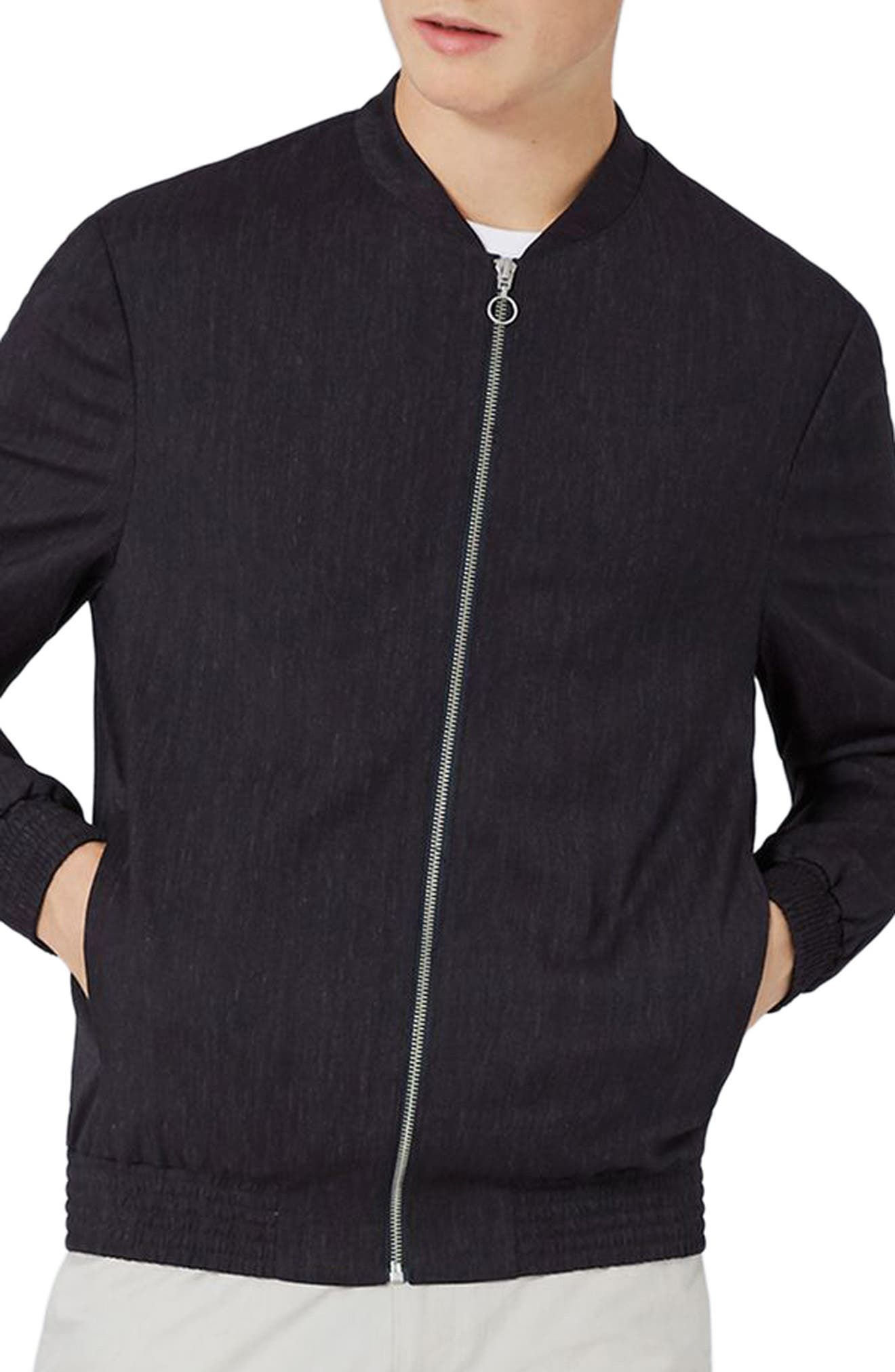 Navy Mélange Smart Bomber,                             Main thumbnail 1, color,                             410