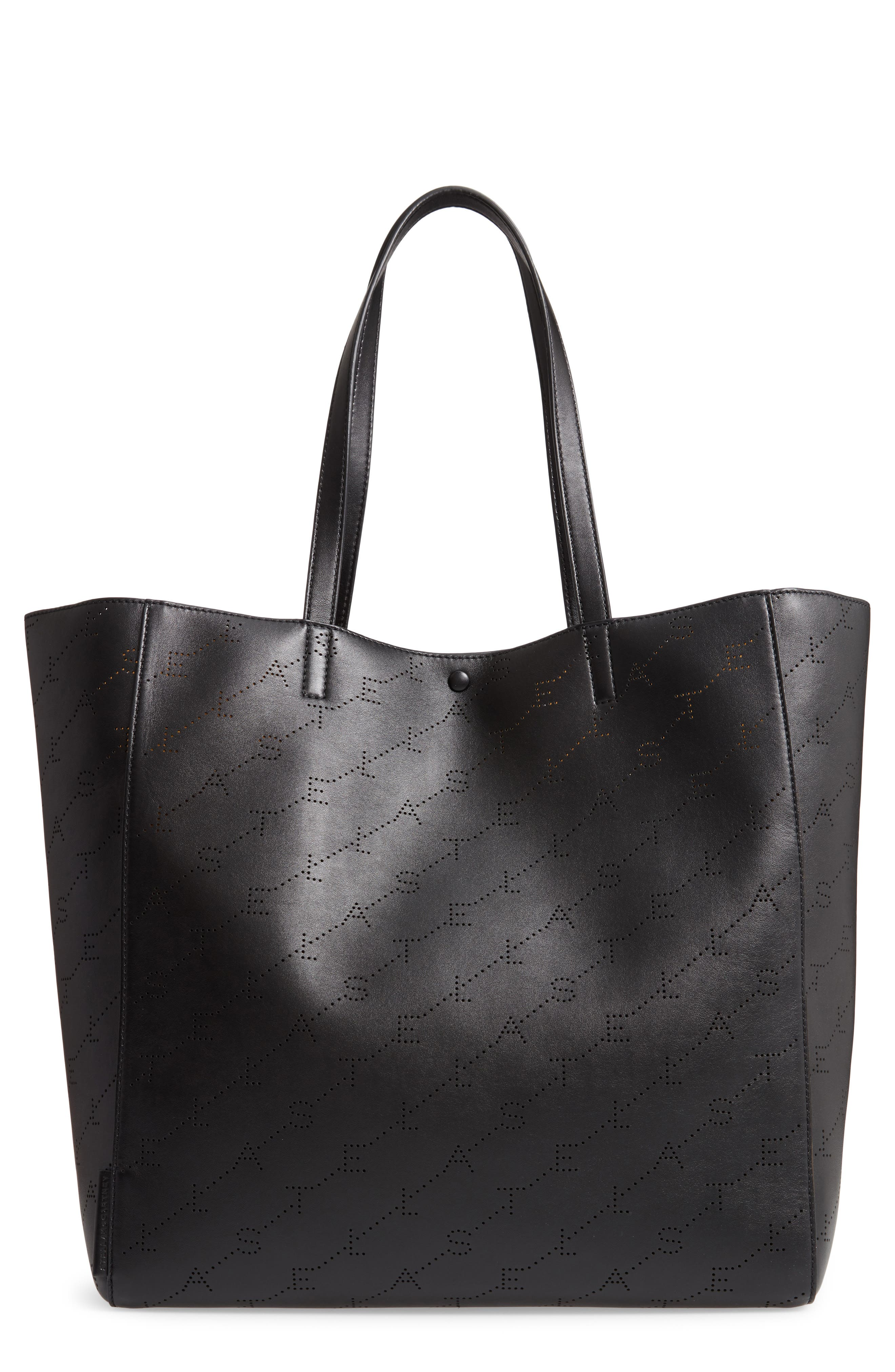 Medium Perforated Logo Faux Leather Tote,                         Main,                         color, 001