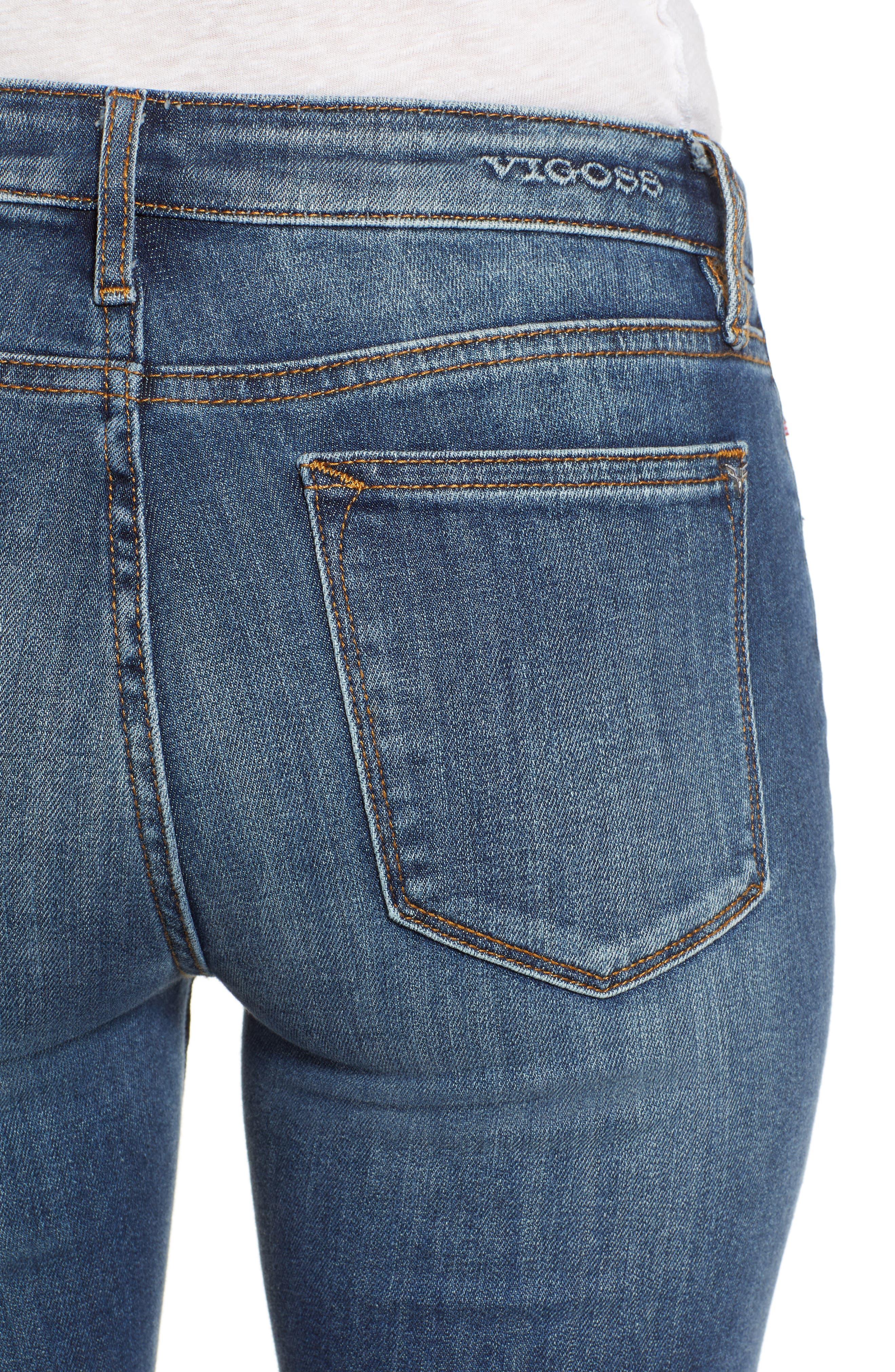 Jagger High Waist Bootcut Jeans,                             Alternate thumbnail 4, color,                             DARK WASH