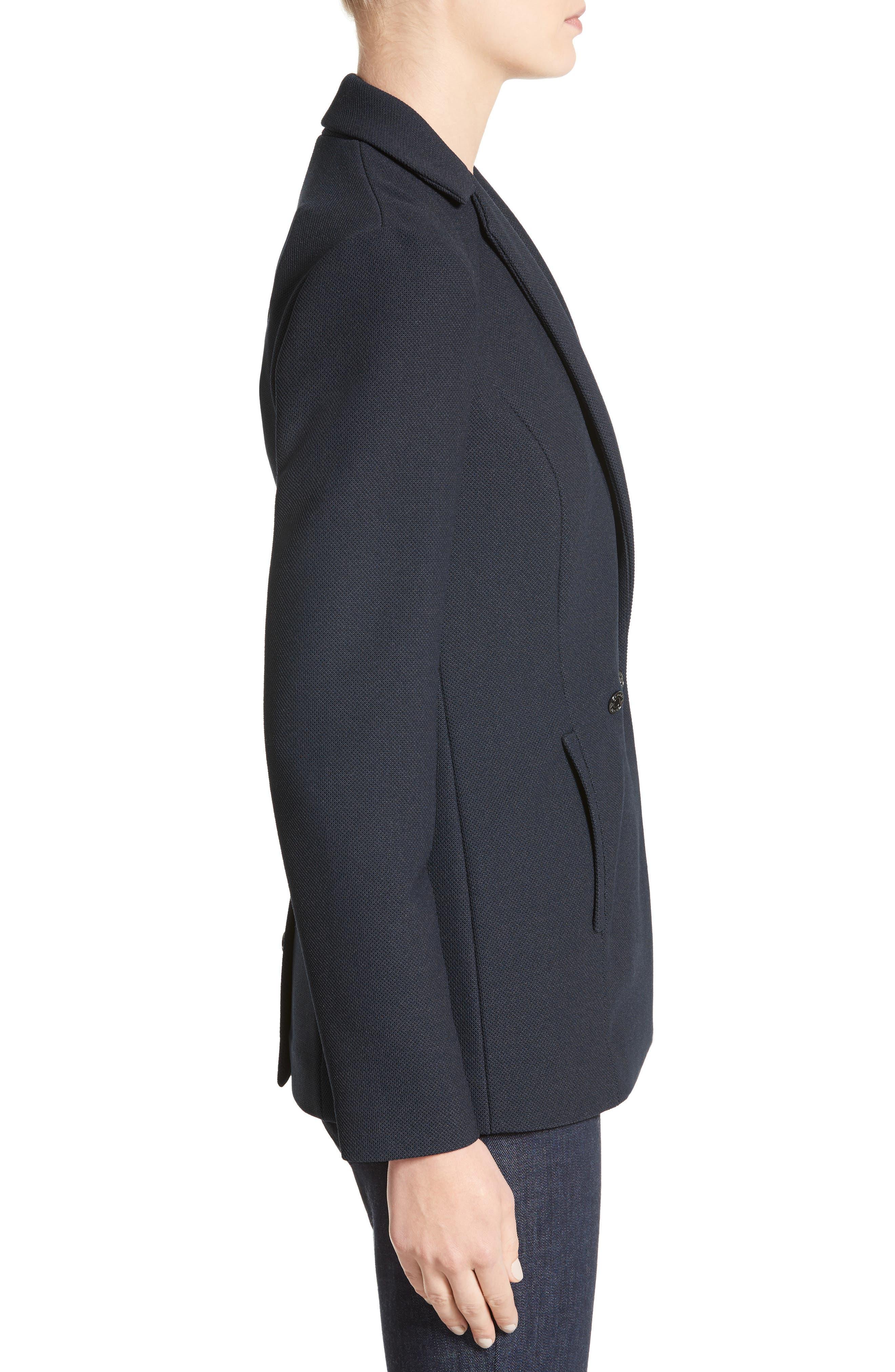 Armani Jeans Piqué Double Breasted Blazer,                             Alternate thumbnail 3, color,                             484