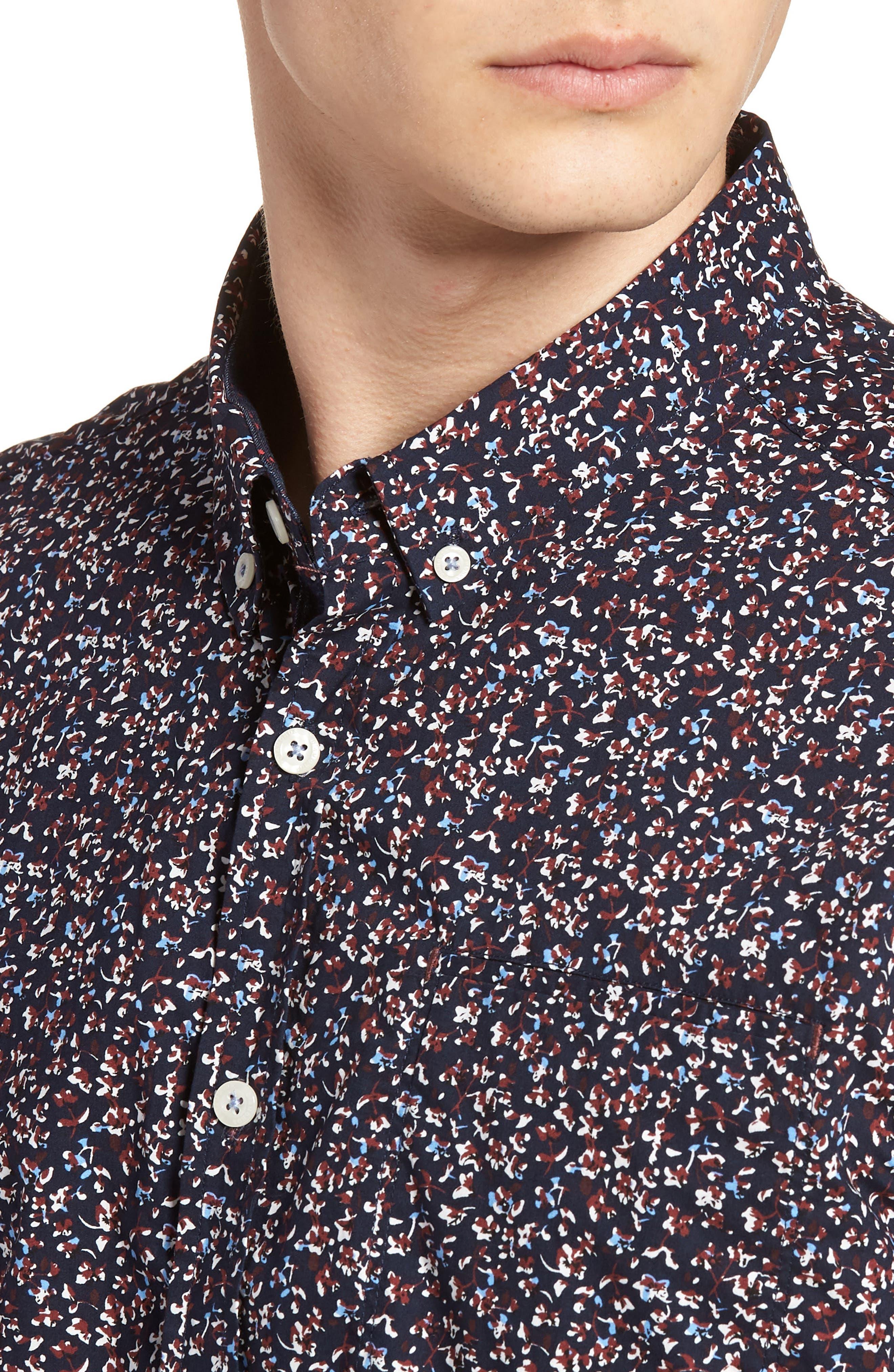 Dark Star Floral Print Sport Shirt,                             Alternate thumbnail 4, color,