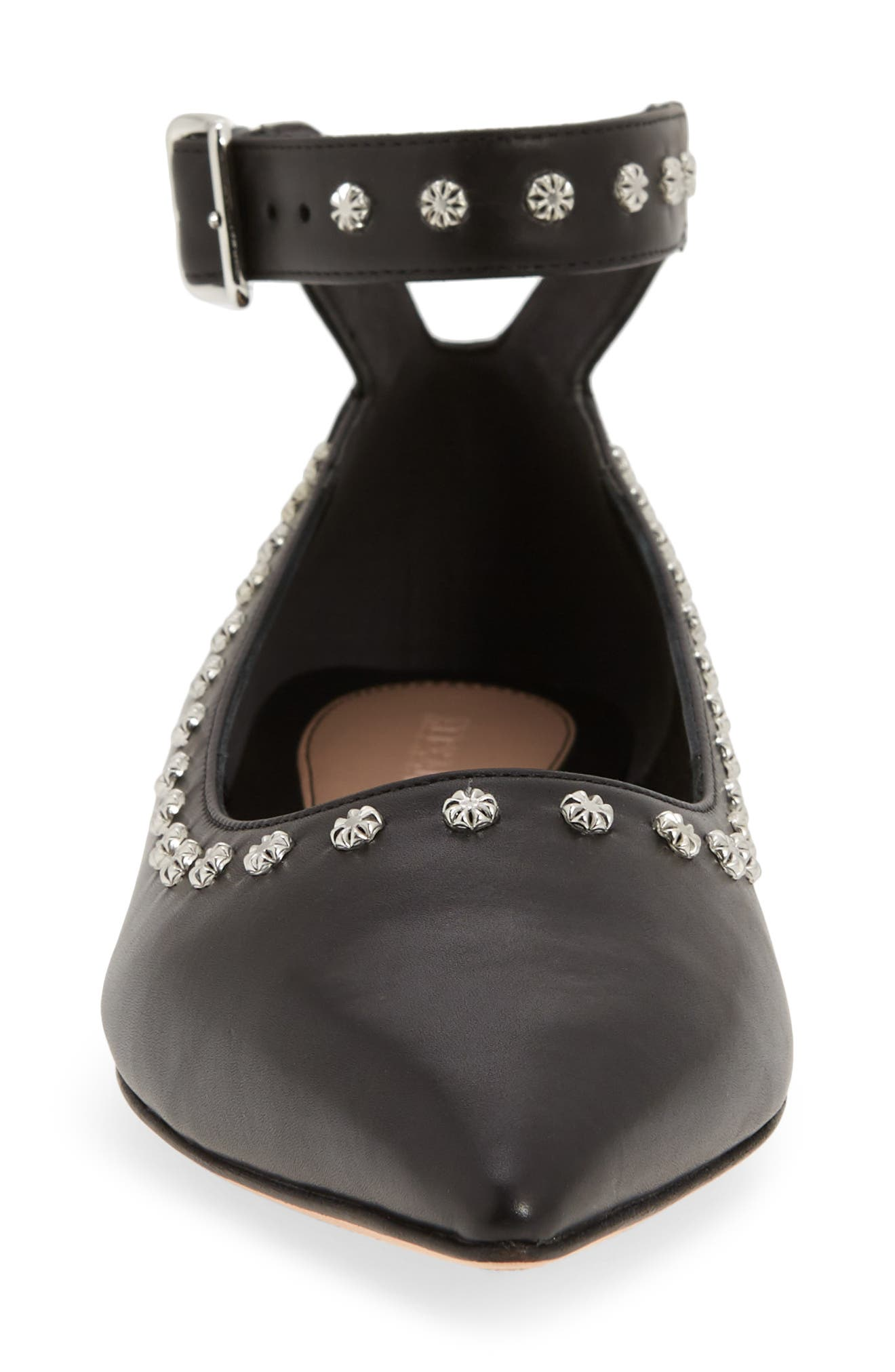 Studded Ankle Strap Flat,                             Alternate thumbnail 4, color,                             001