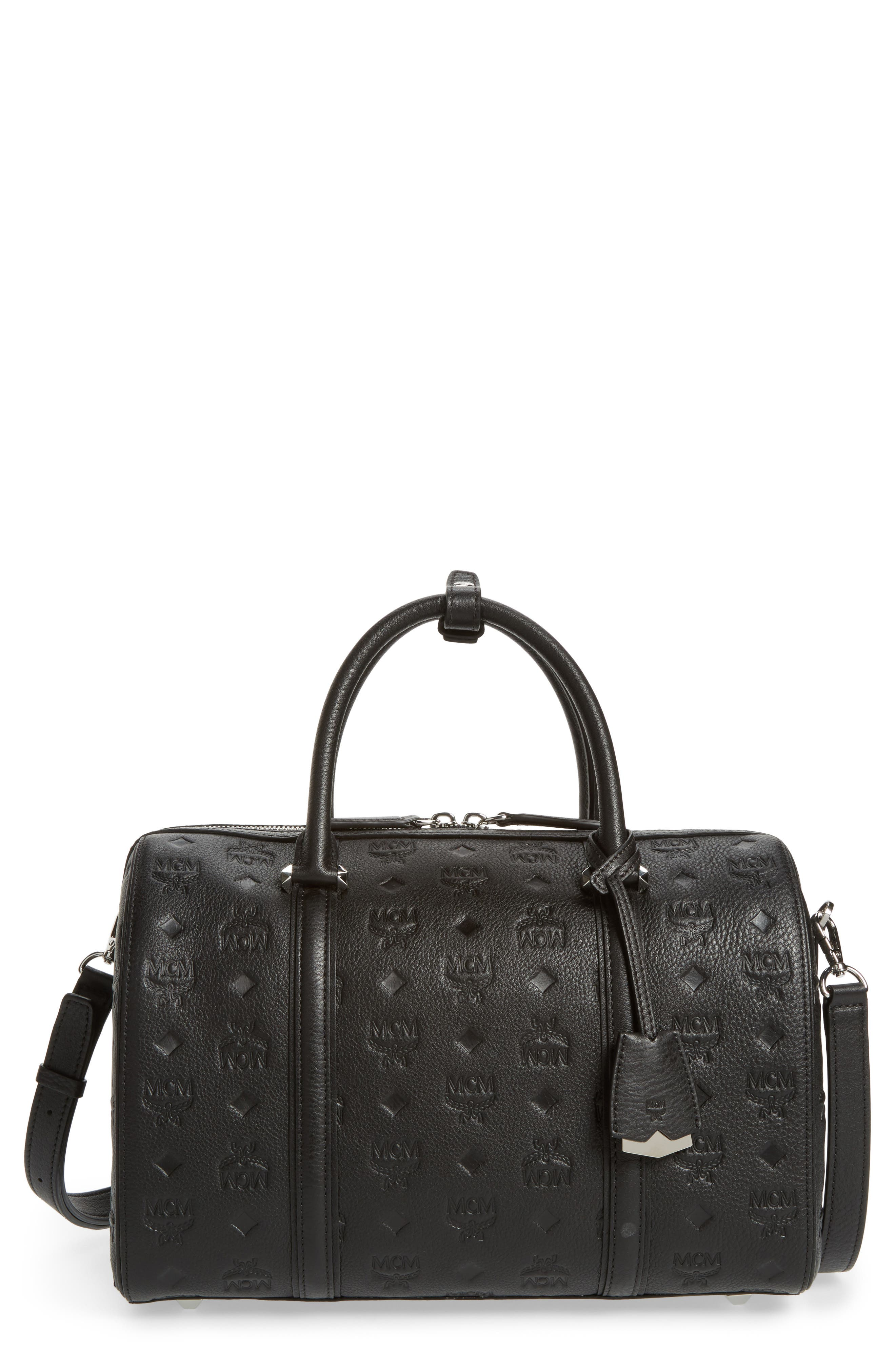 Signature Monogram Embossed Leather Crossbody Bag,                             Main thumbnail 1, color,                             001