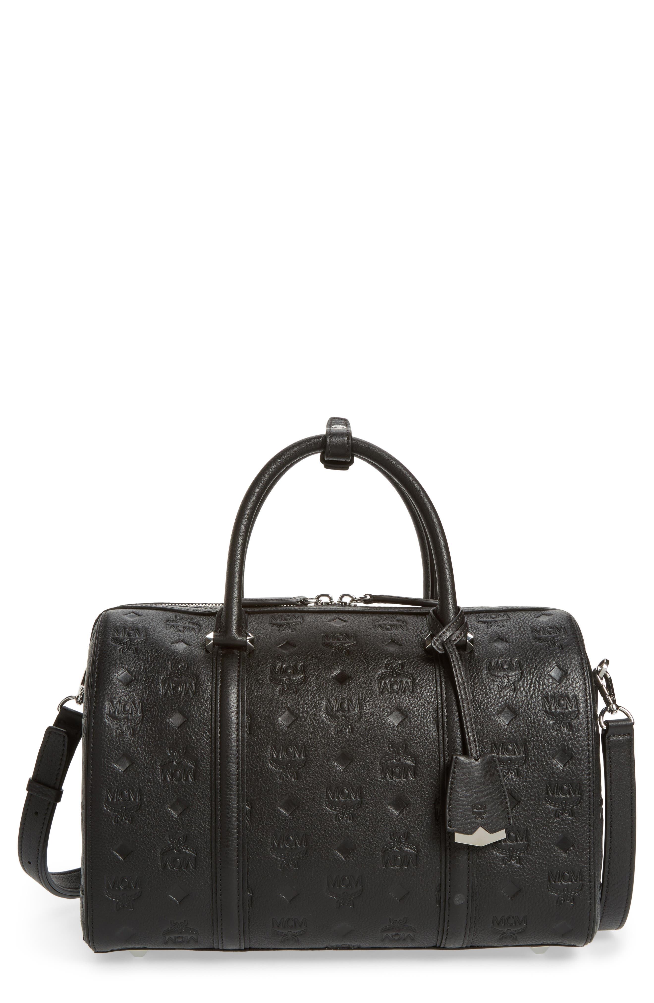 Signature Monogram Embossed Leather Crossbody Bag,                         Main,                         color, 001