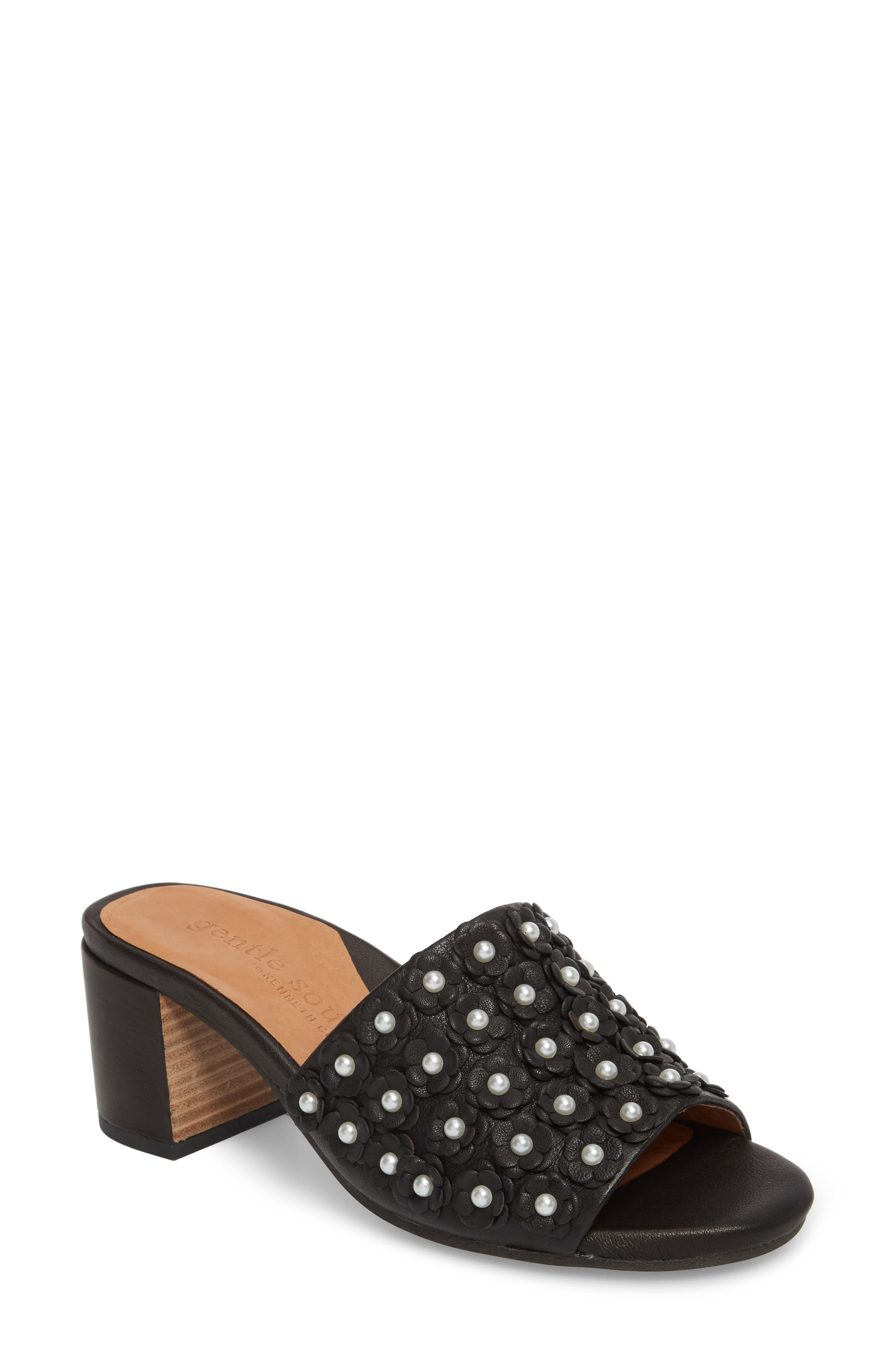 by Kenneth Cole Chantel Sandal,                         Main,                         color, BLACK FLOWERS LEATHER