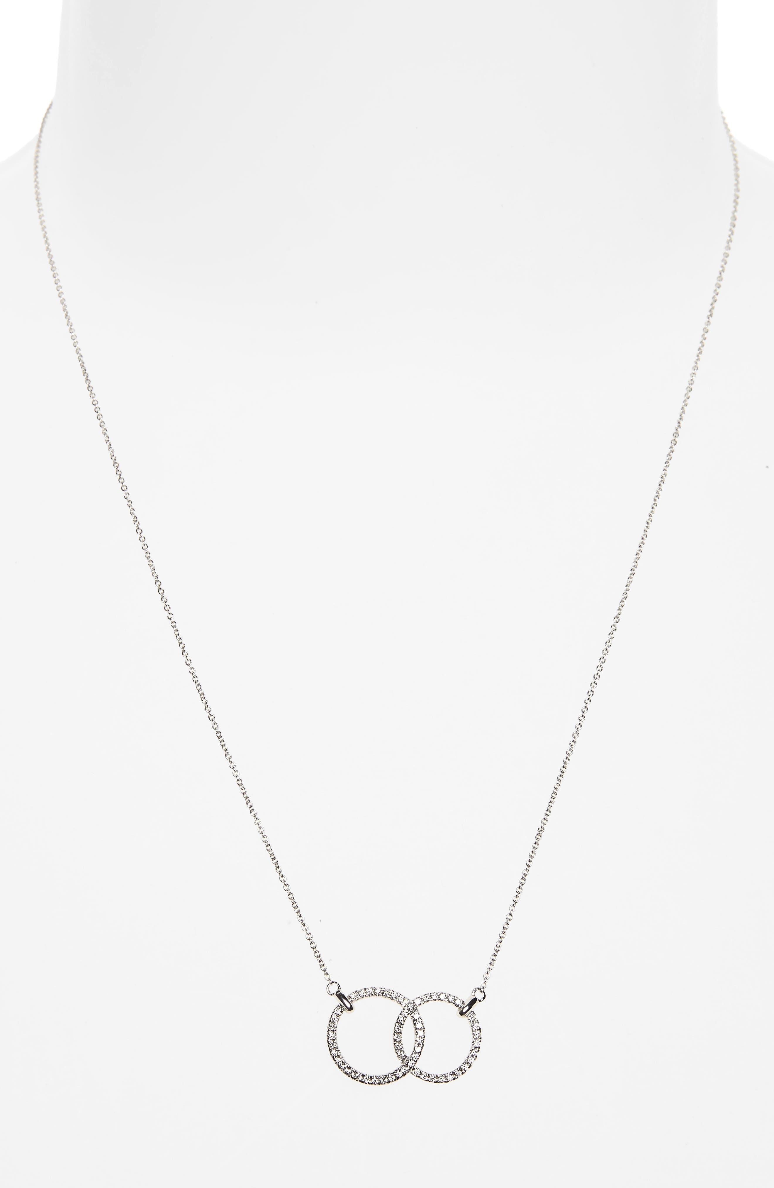 Double Diamond Circle Pendant Necklace,                             Alternate thumbnail 3, color,                             WHITE GOLD