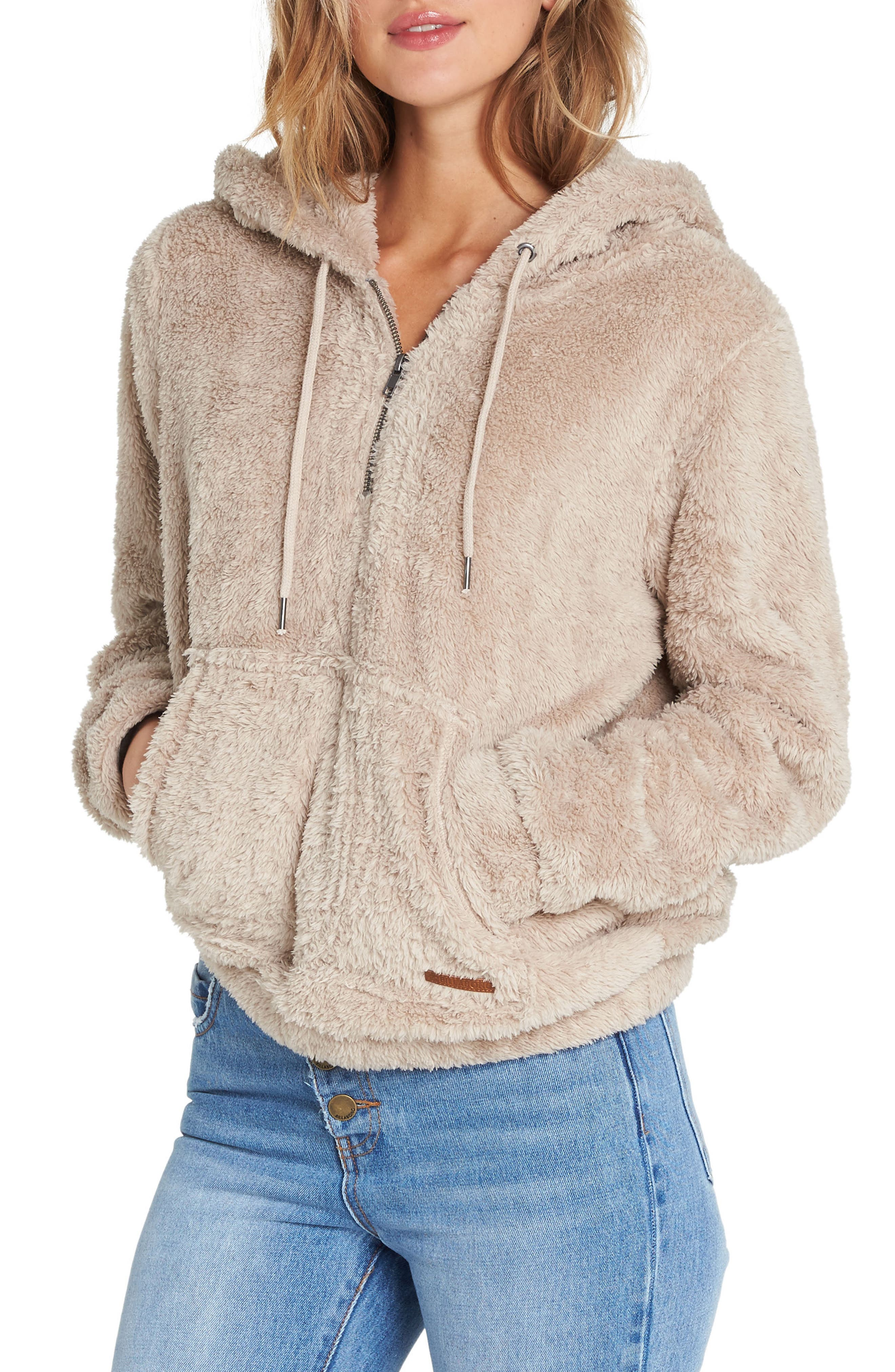 Cozy for Keeps Fleece Zip Hoodie,                             Main thumbnail 1, color,                             COCONUT SHELL