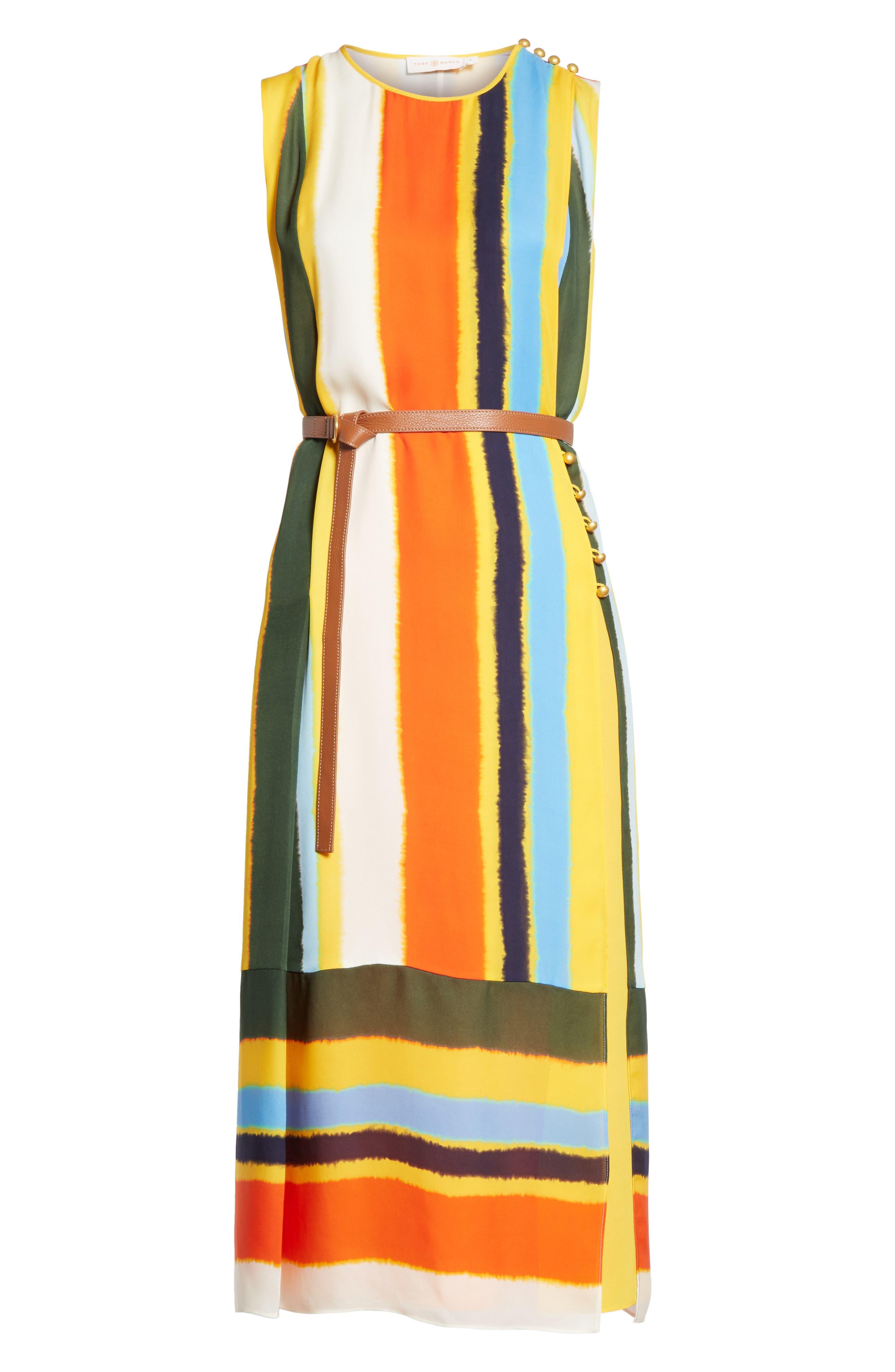 Bettina Stripe Silk Wrap Dress,                             Alternate thumbnail 6, color,                             108