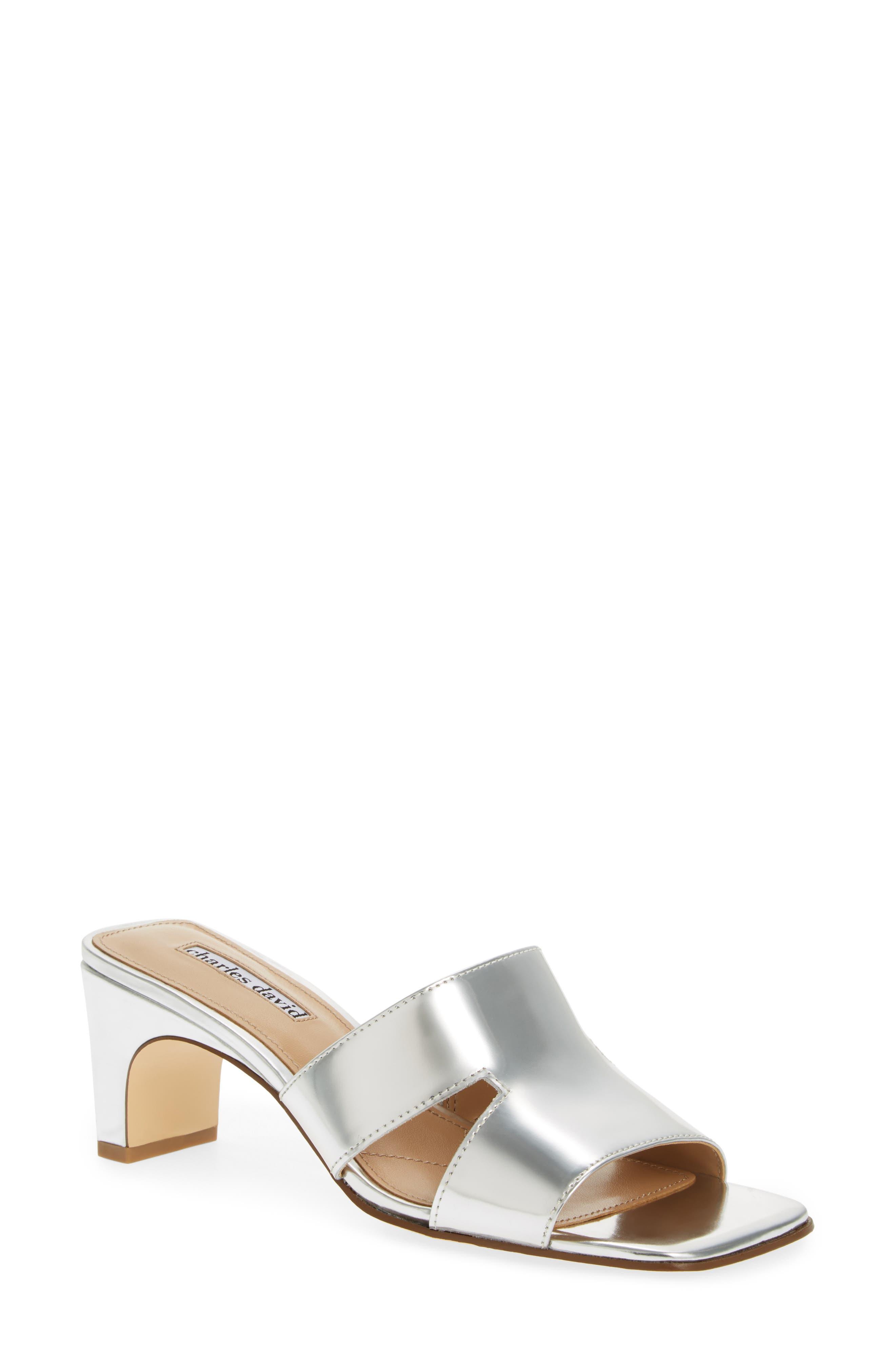 Charles David Harley Slide Sandal- Metallic