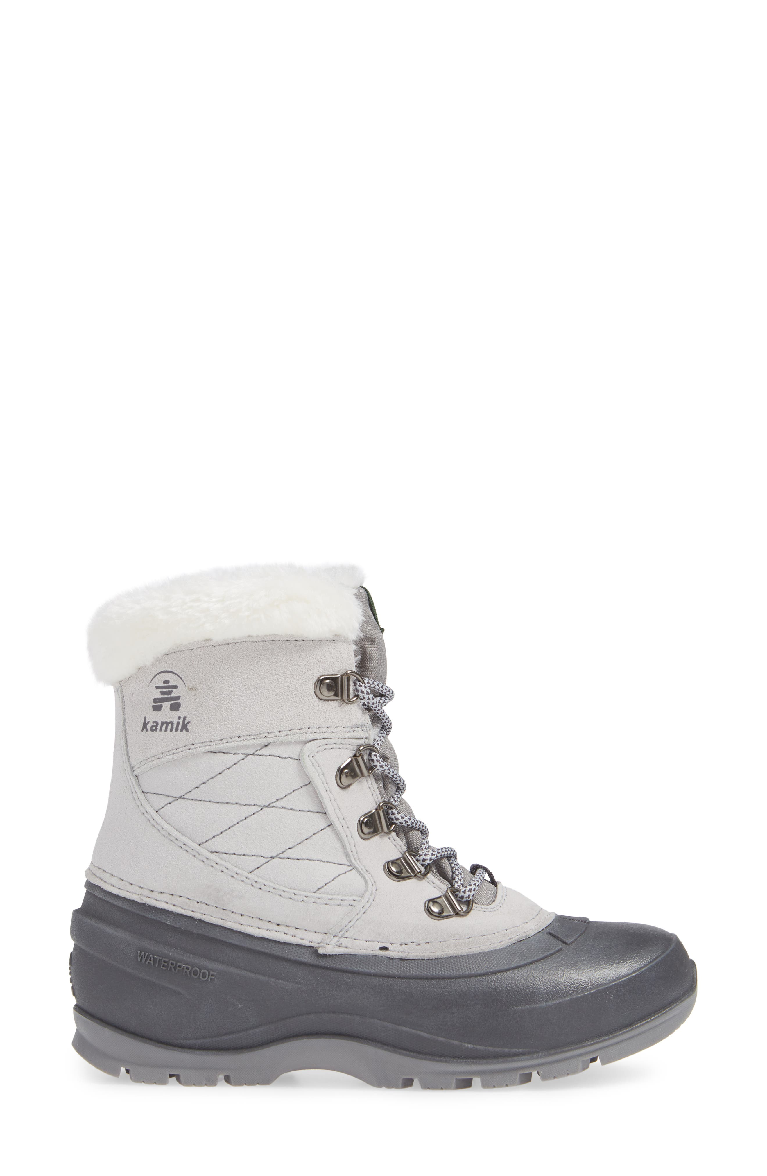 KAMIK,                             Snovalley1 Waterproof Thinsulate<sup>®</sup> Insulated Snow Boot,                             Alternate thumbnail 3, color,                             LIGHT GREY SUEDE