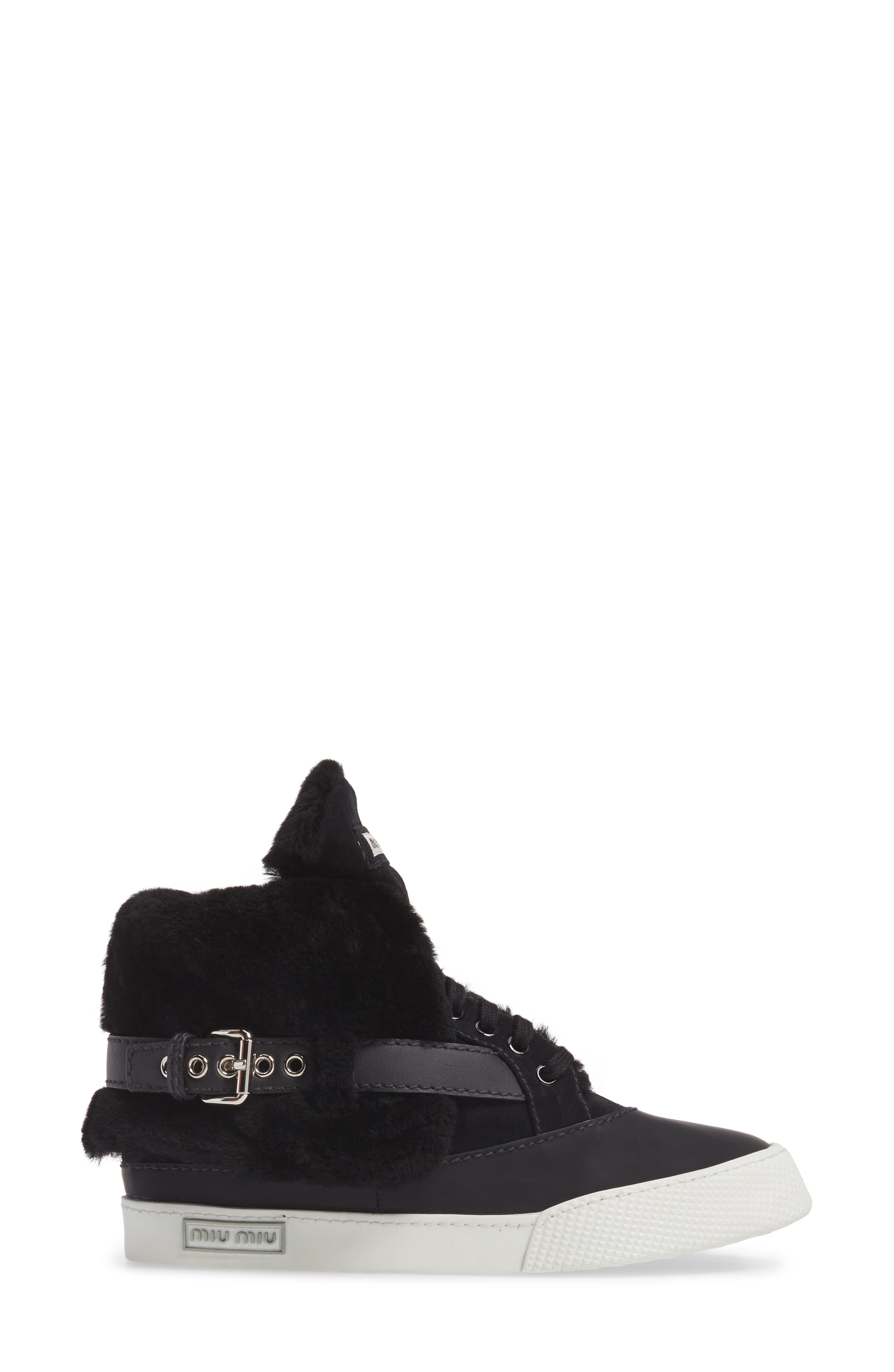 Genuine Shearling Cuffed Buckle Strap Sneaker,                             Alternate thumbnail 3, color,                             001