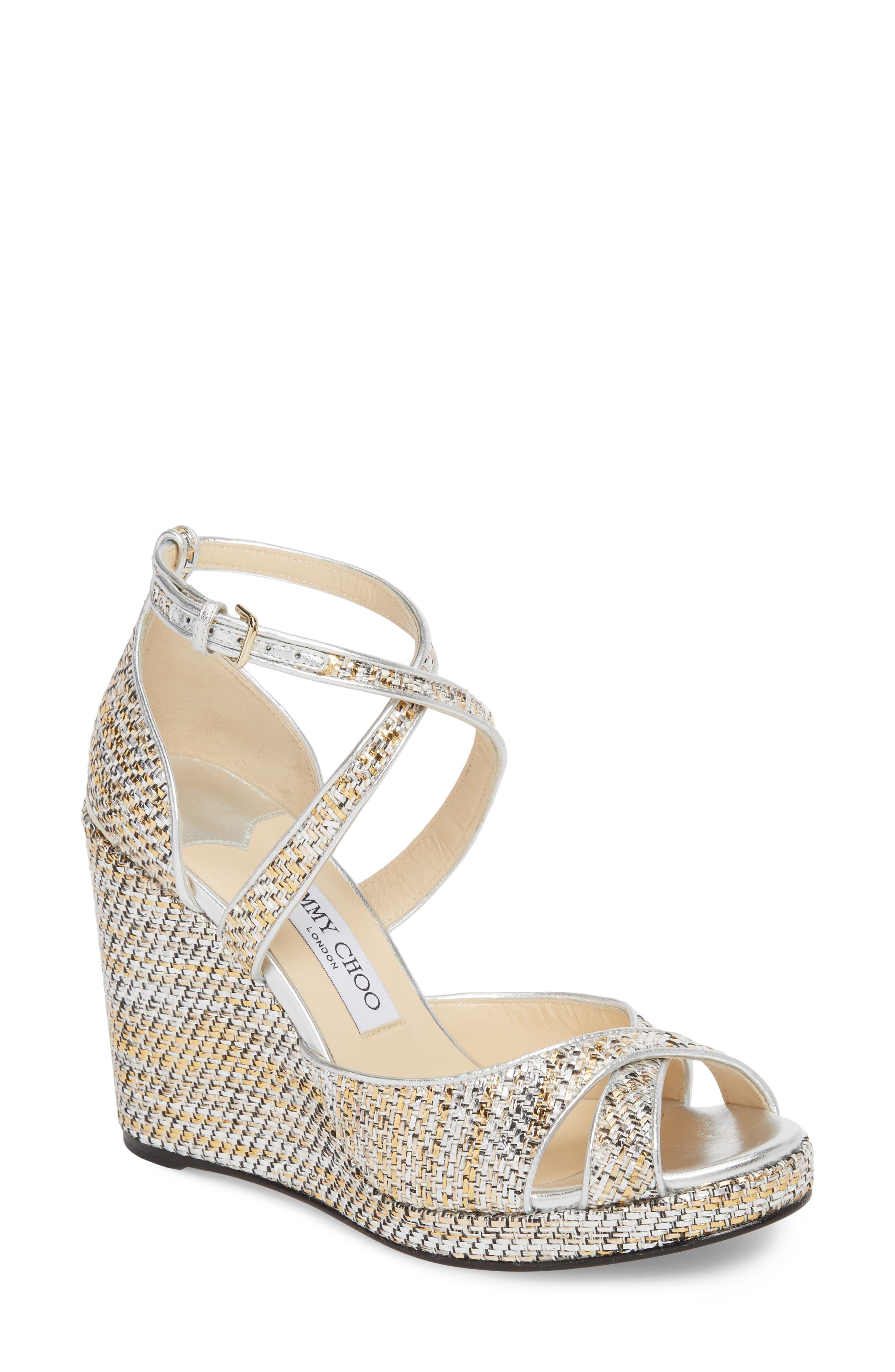 Alanah Metallic Wedge Sandal,                         Main,                         color, SILVER MIX