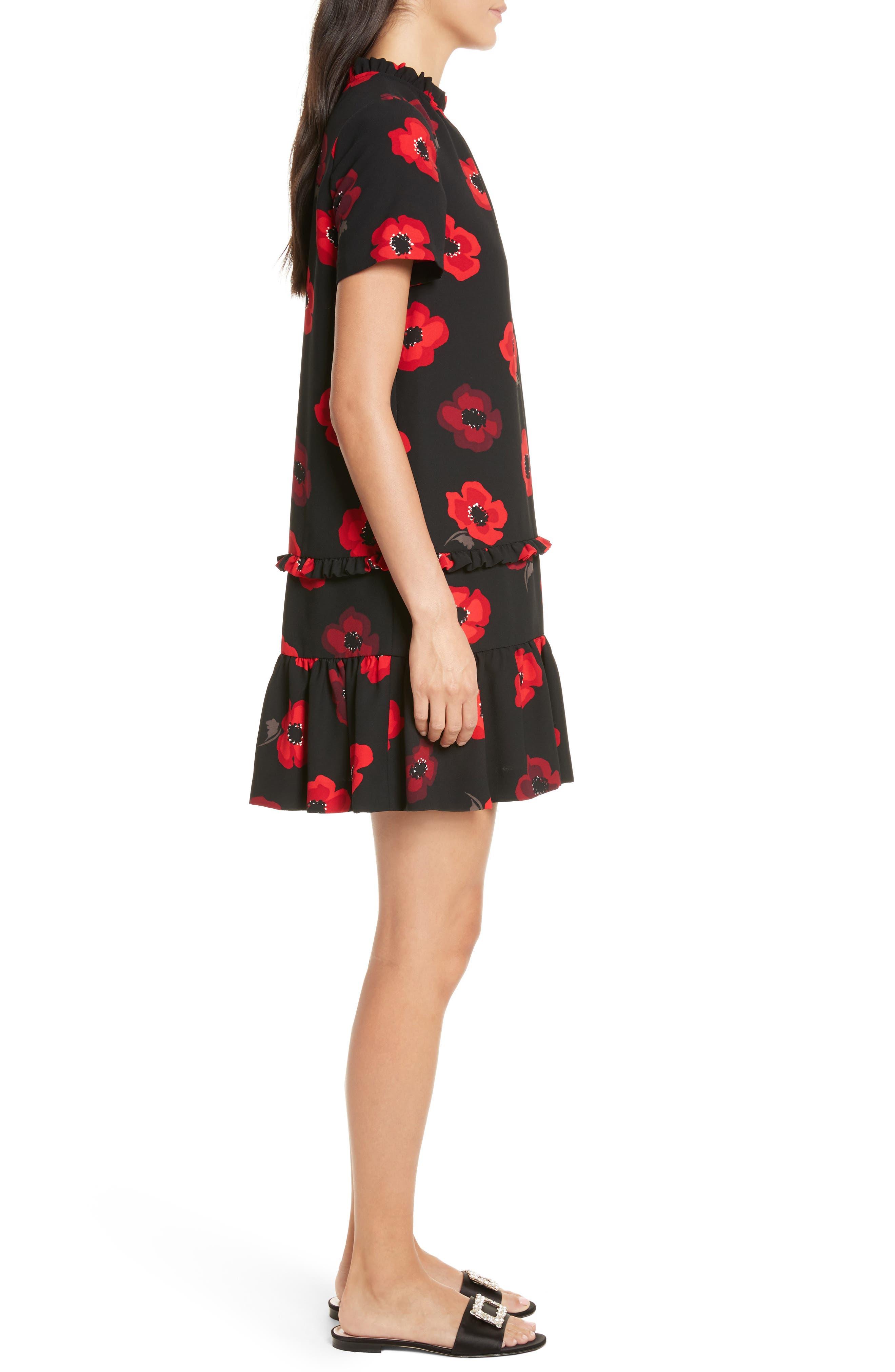 ruffle poppy shift dress,                             Alternate thumbnail 3, color,                             006