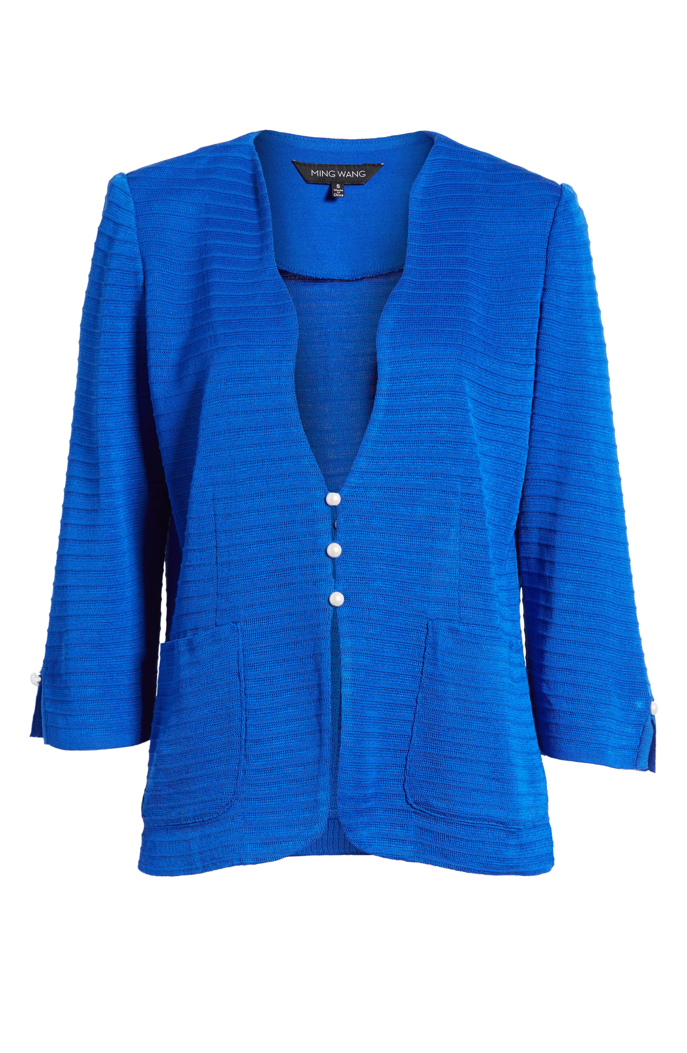 Textured Three Quarter Sleeve Jacket,                             Alternate thumbnail 5, color,                             PATRIOT BLUE