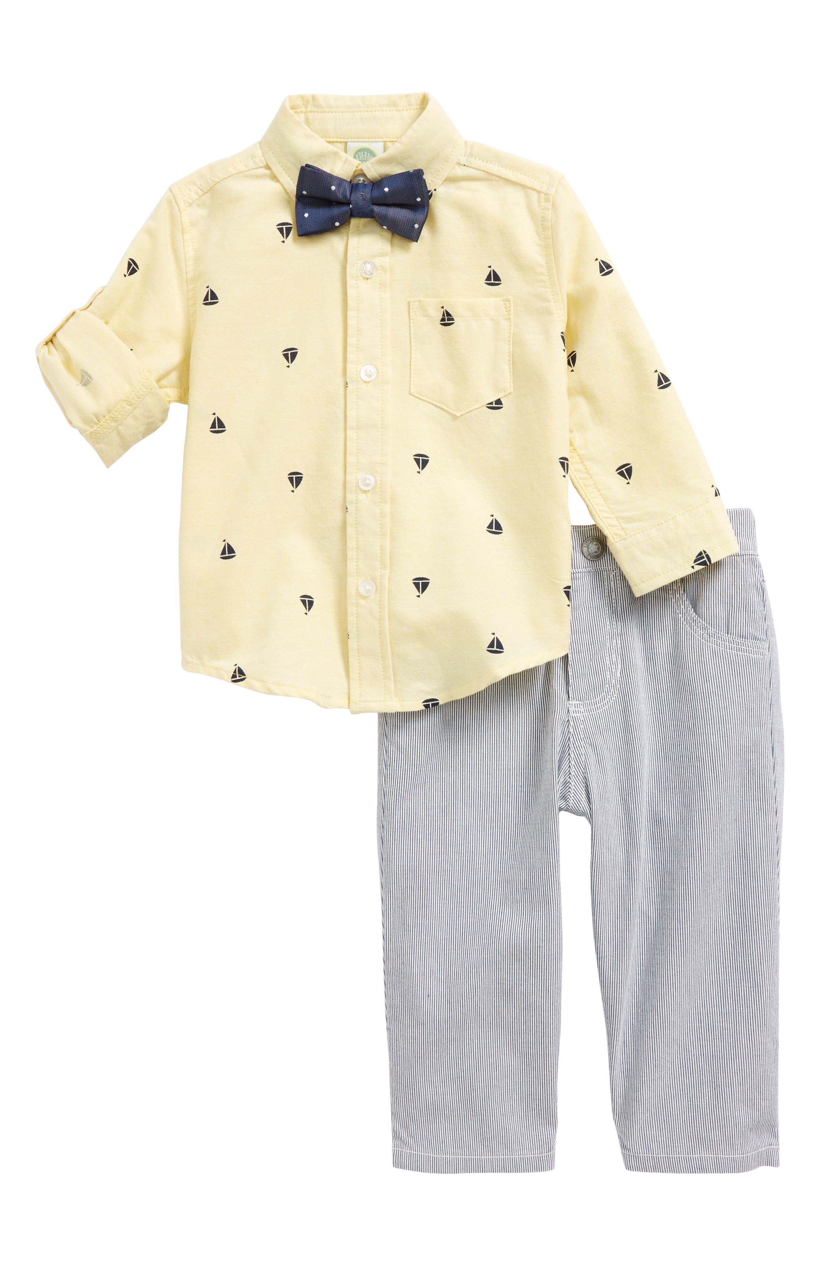Sailboat Shirt, Pants & Bow Tie Set,                         Main,                         color,