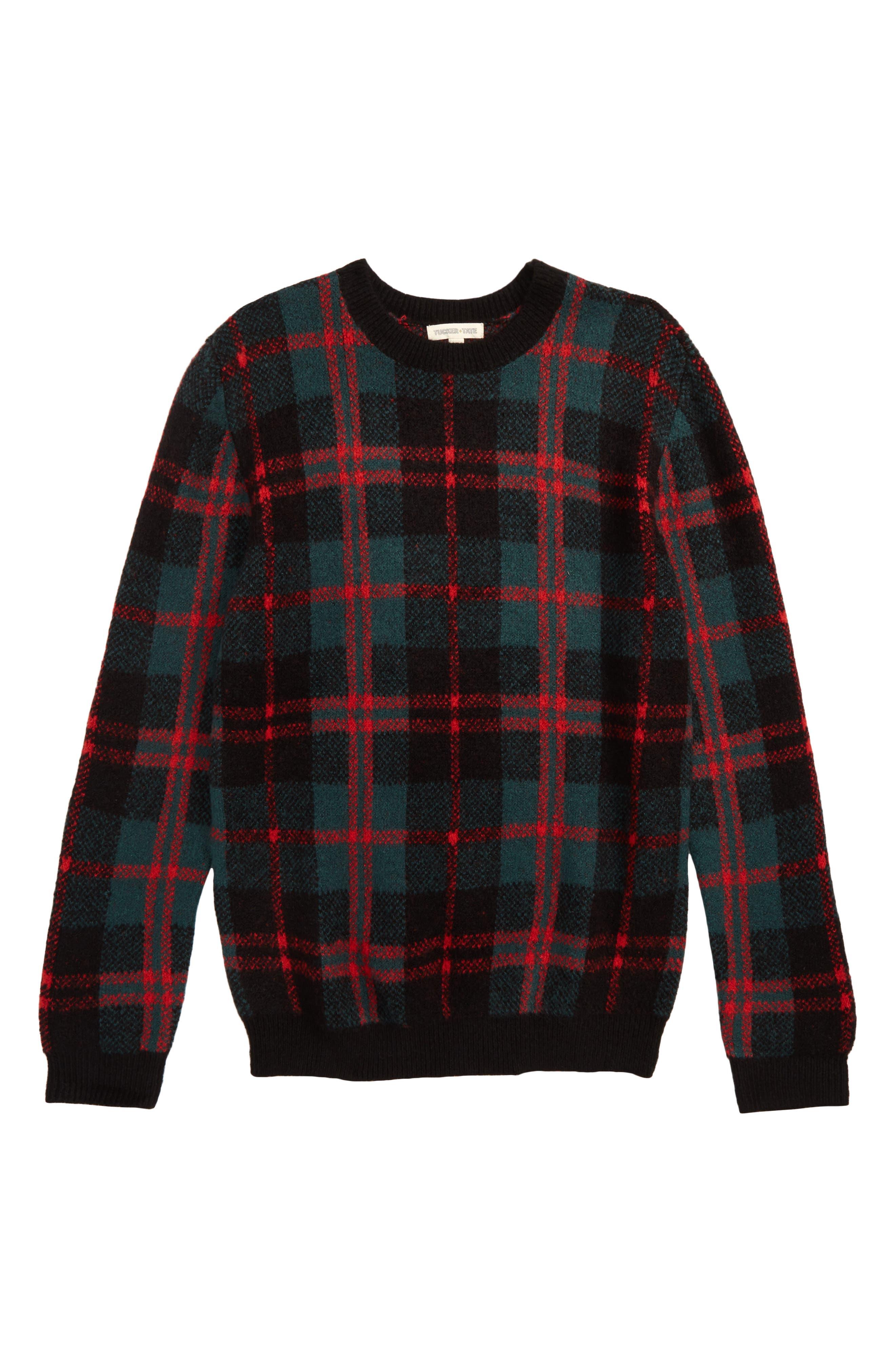 Tartan Plaid Sweater,                         Main,                         color, GREEN BUG WINDOWPANE PLAID