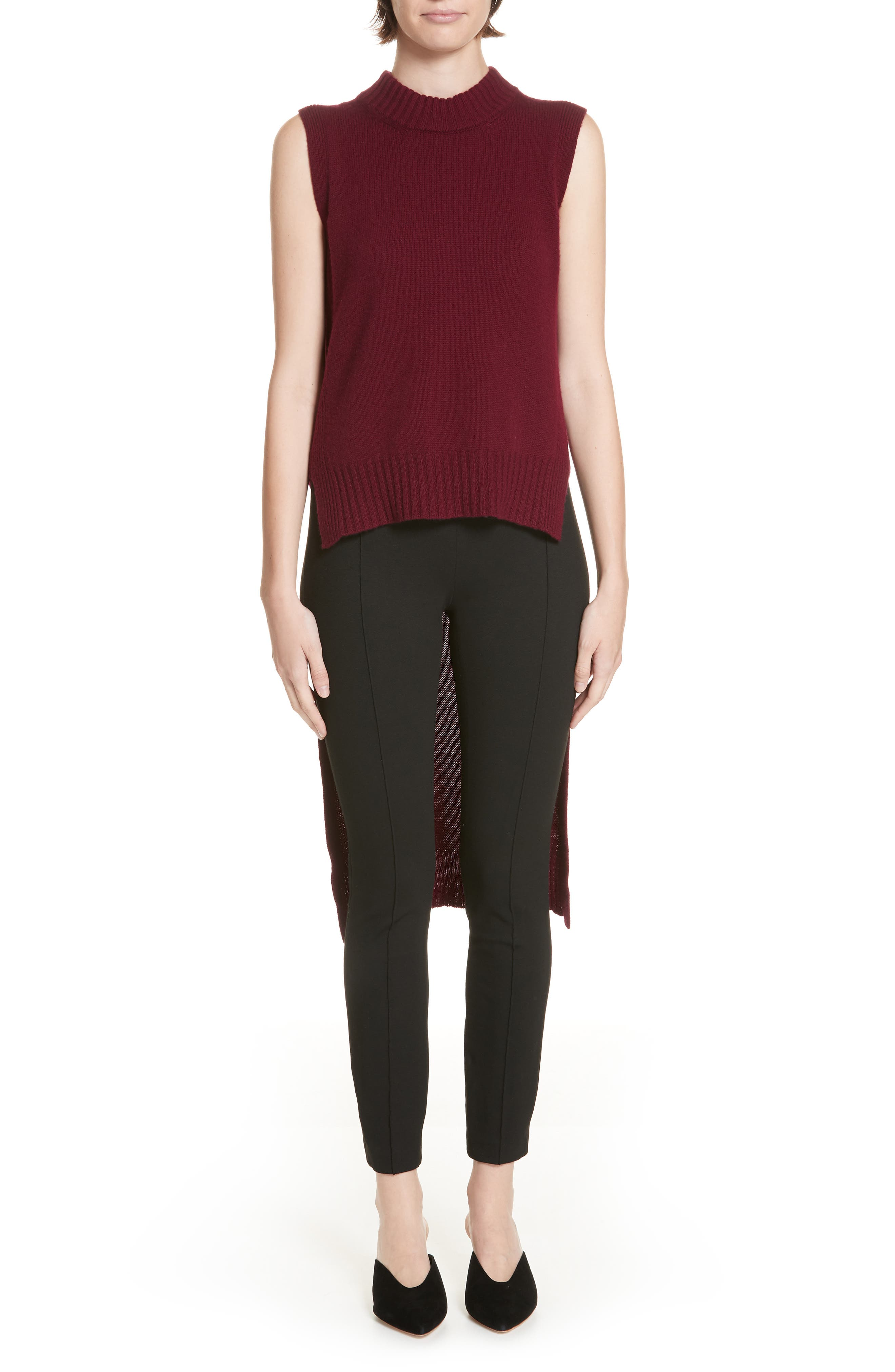 High/Low Wool & Cashmere Sweater,                             Main thumbnail 1, color,                             MAROON