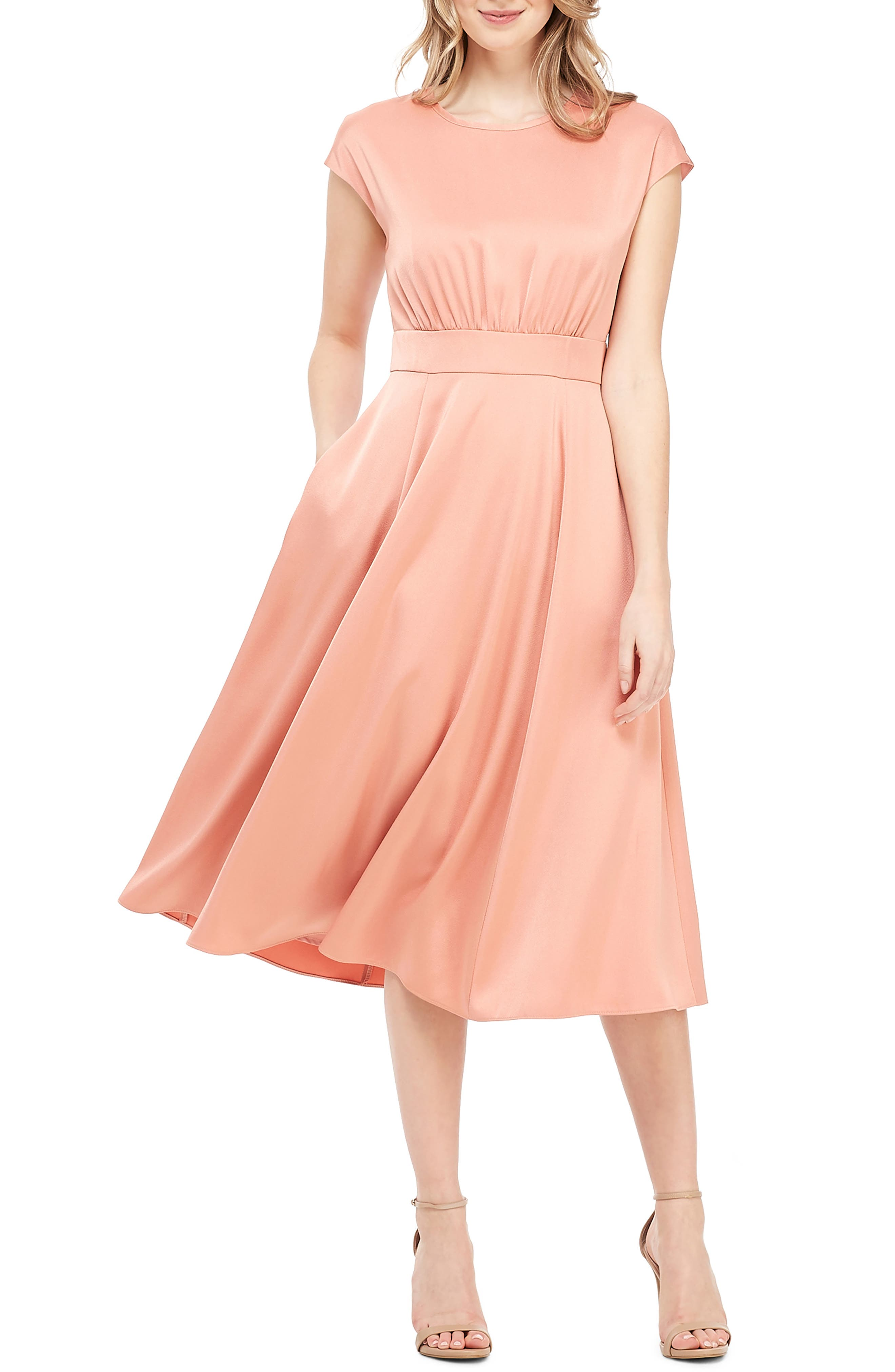 women's gal meets glam collection julia crepe back satin midi dress