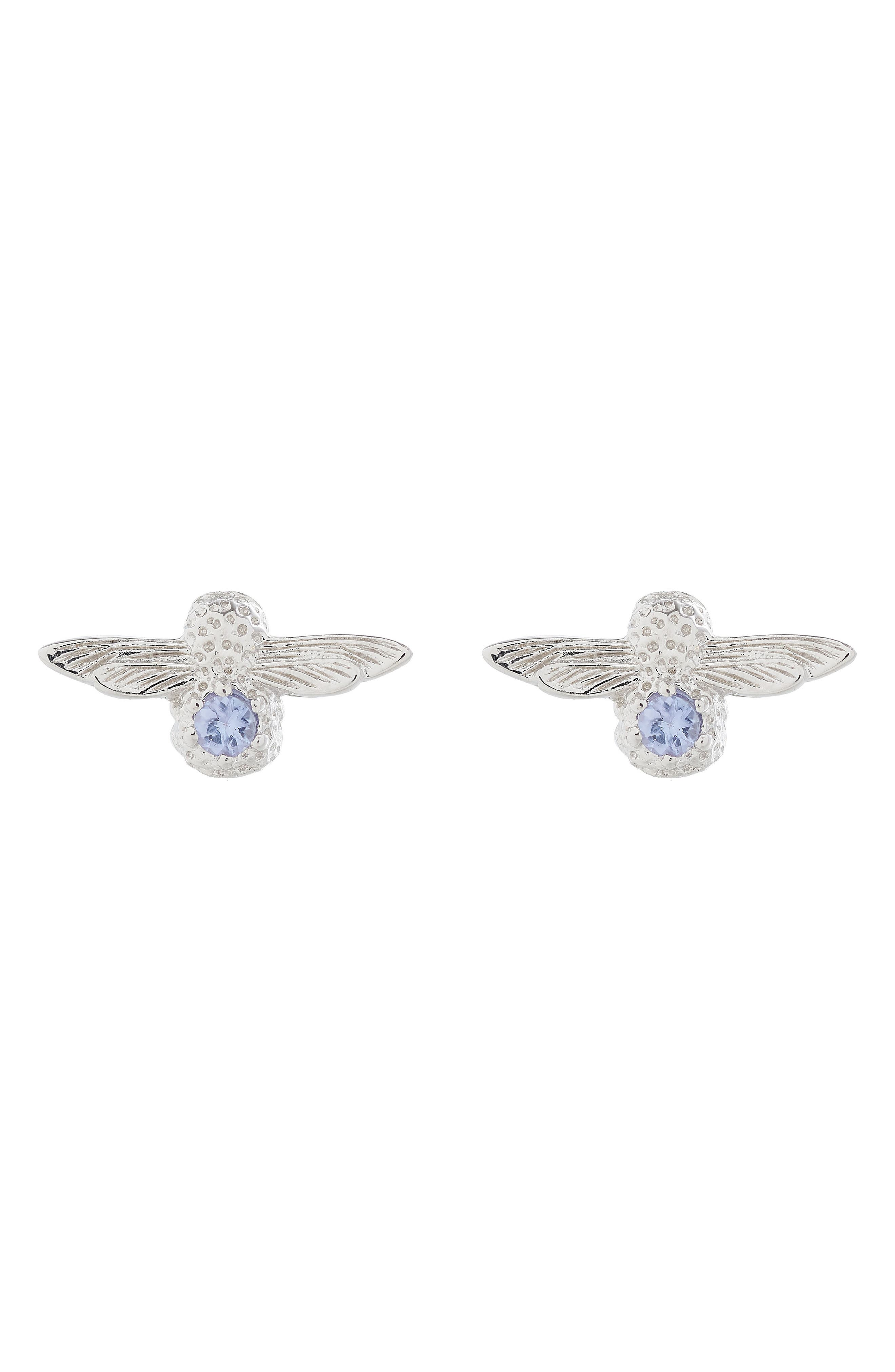 3D Bejeweled Bee Stud Earrings,                         Main,                         color, TWO TONE-SILVER / TANZANITE