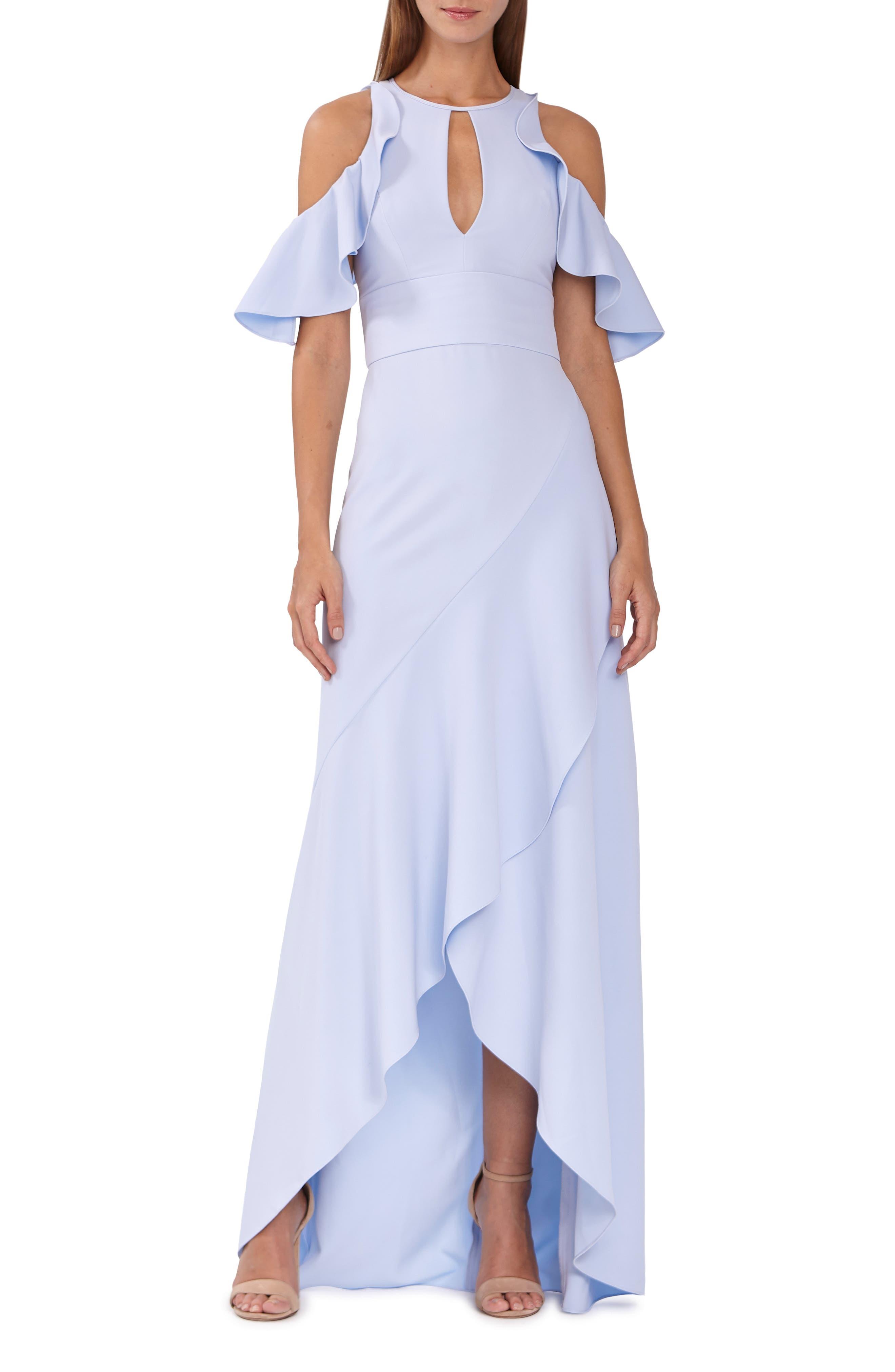 Ml Monique Lhuillier Ruffle Cold Shoulder Gown, Blue
