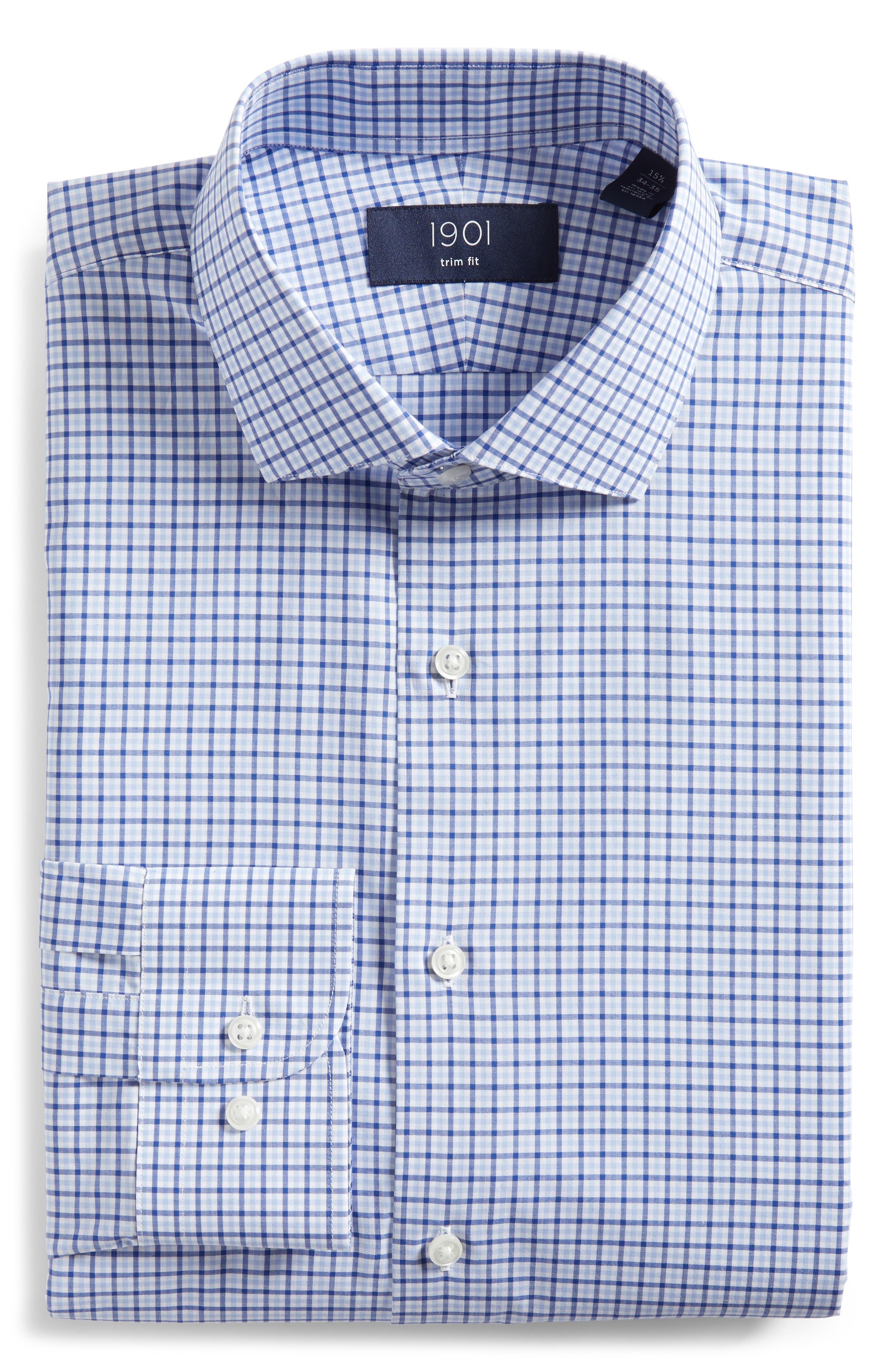 Trim Fit Check Dress Shirt,                             Alternate thumbnail 5, color,                             BLUE SODALITE
