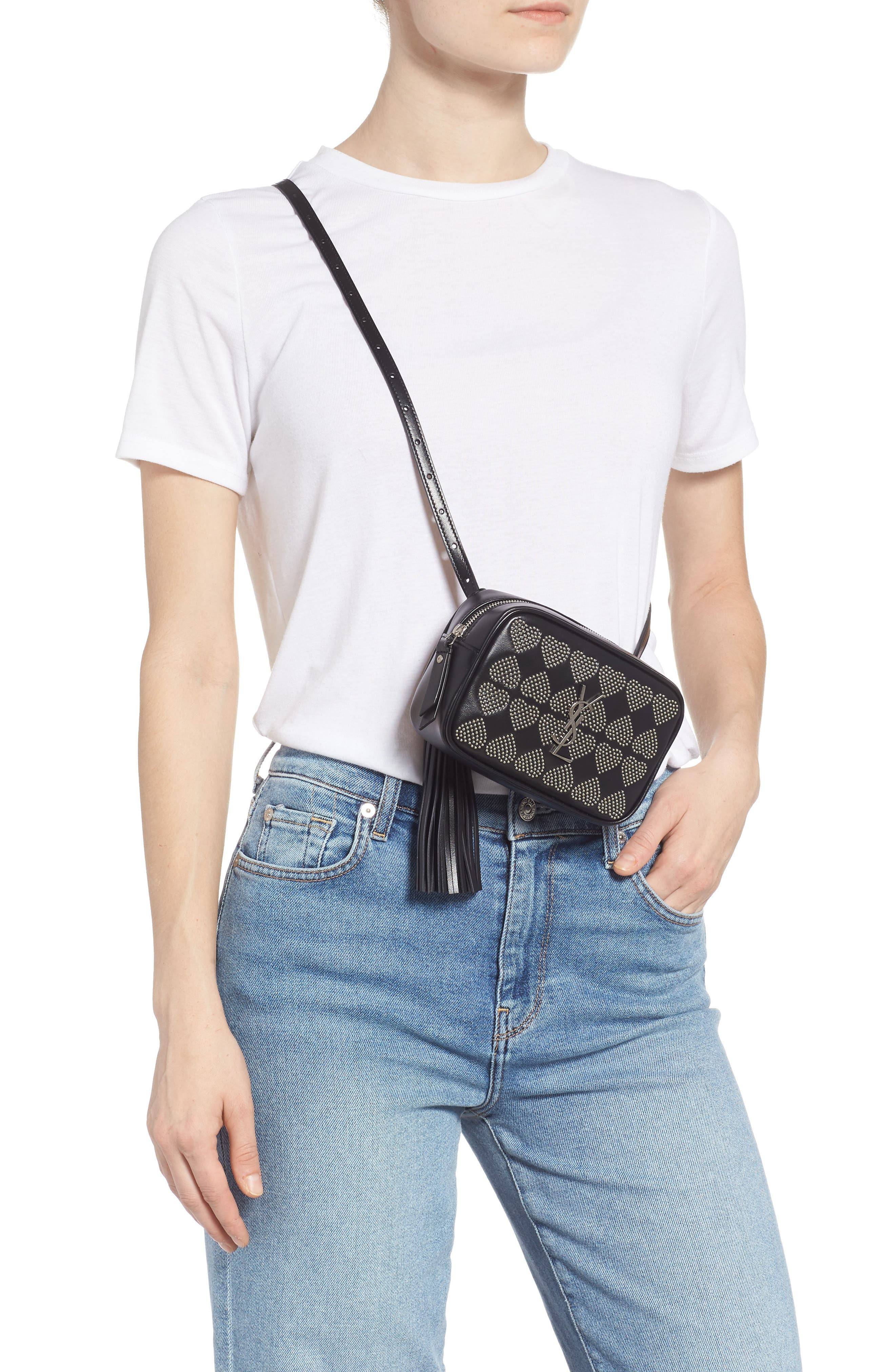 Micro Lou Stud Hearts Calfskin Leather Belt Bag,                             Alternate thumbnail 3, color,                             NOIR
