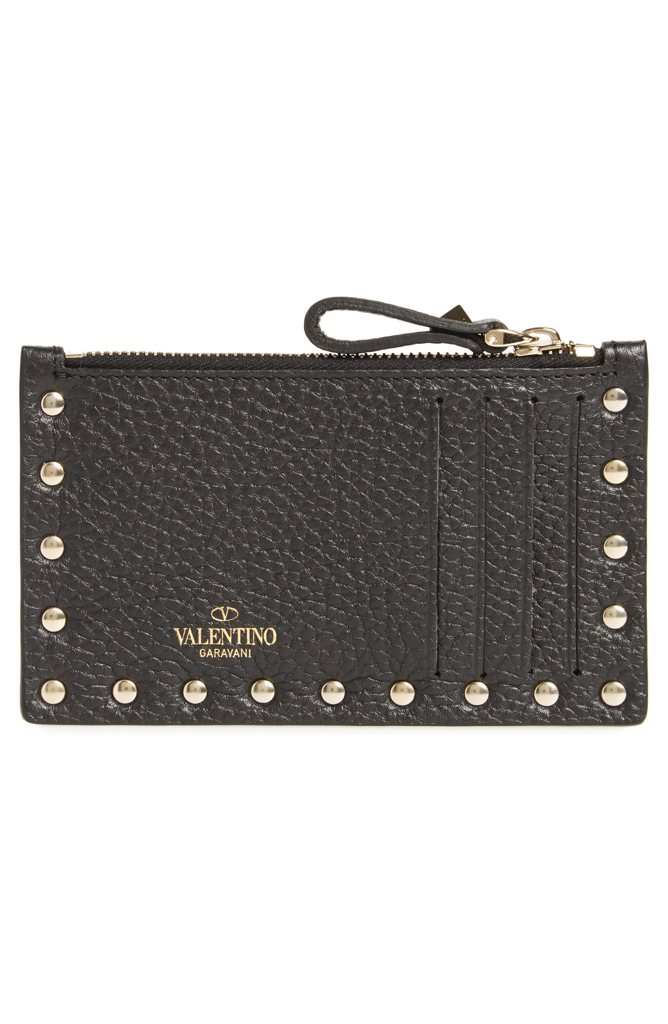 Rockstud Leather Zip Card Case,                             Alternate thumbnail 2, color,                             001