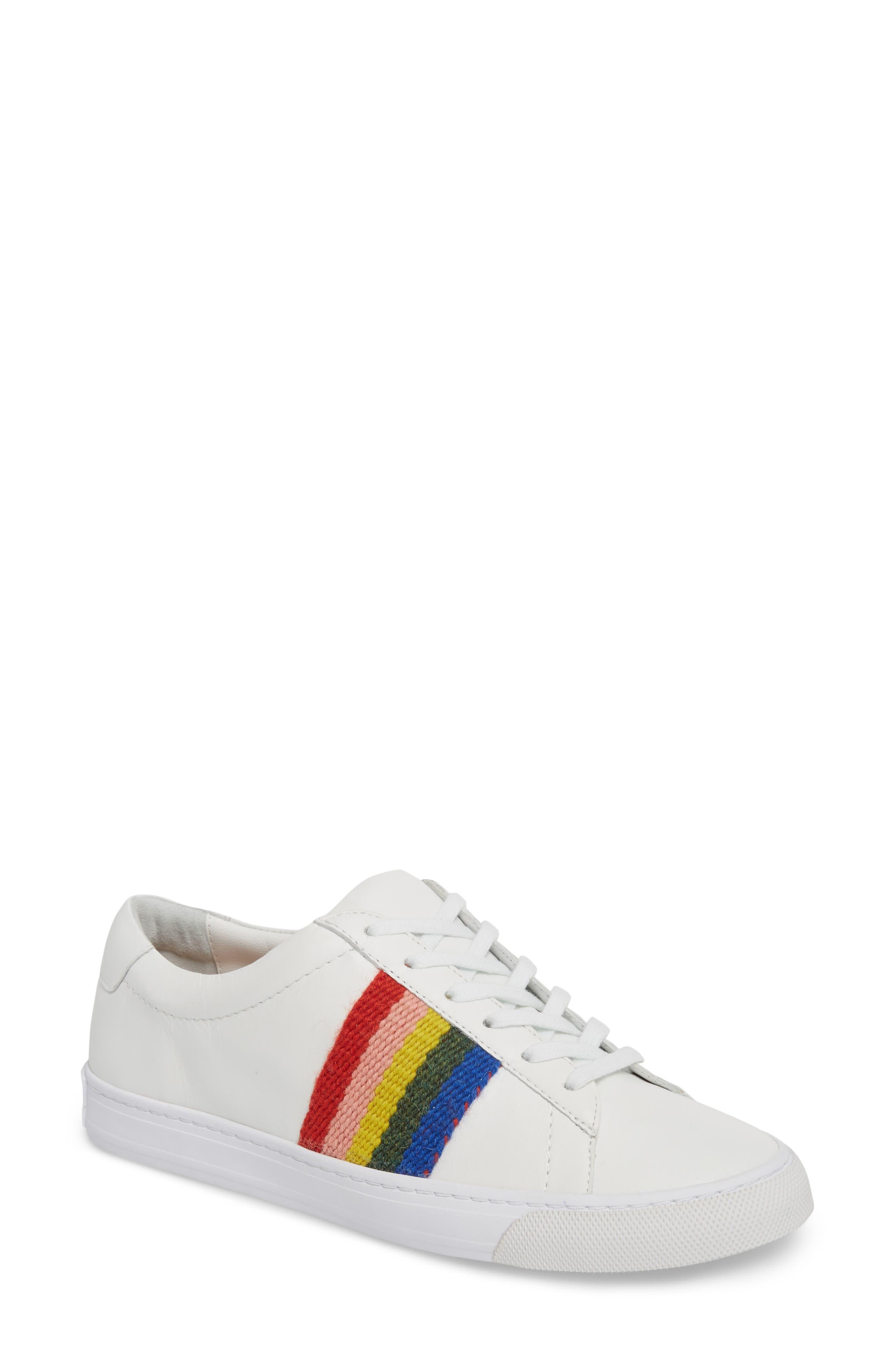 Logan Rainbow Sneaker,                         Main,                         color, WHITE/ RAINBOW