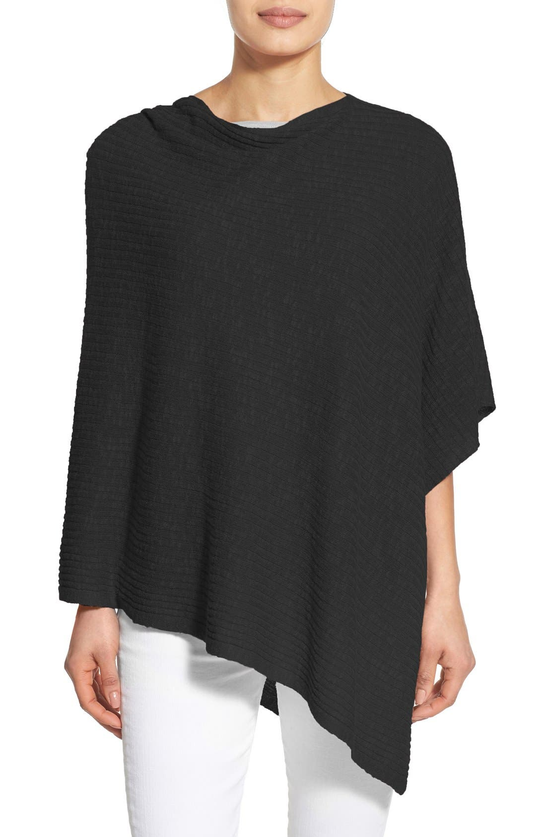 EILEEN FISHER Organic Linen & Cotton Knit Poncho, Main, color, 001