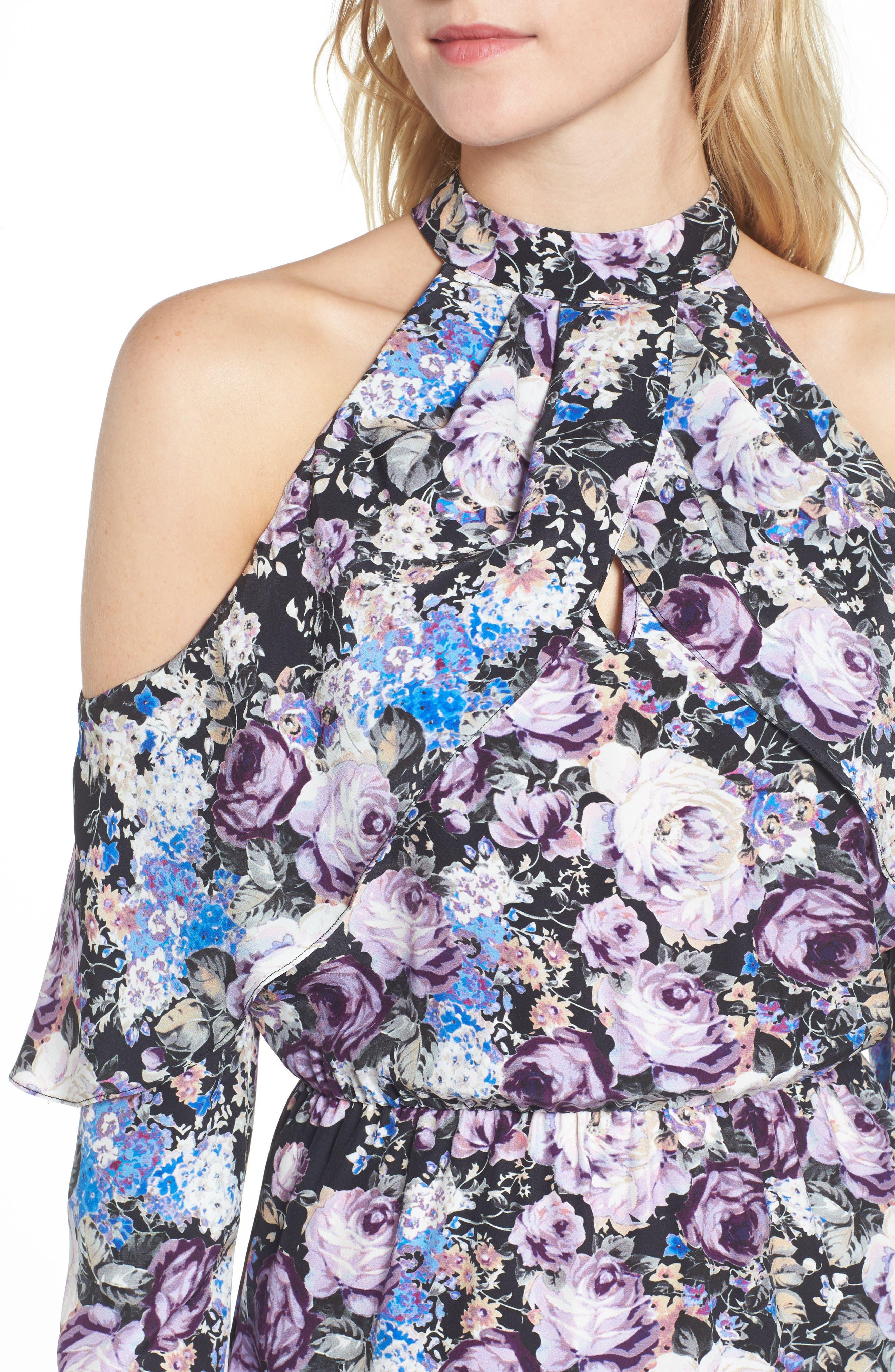 Noemi Cold Shoulder Silk Dress,                             Alternate thumbnail 4, color,                             500