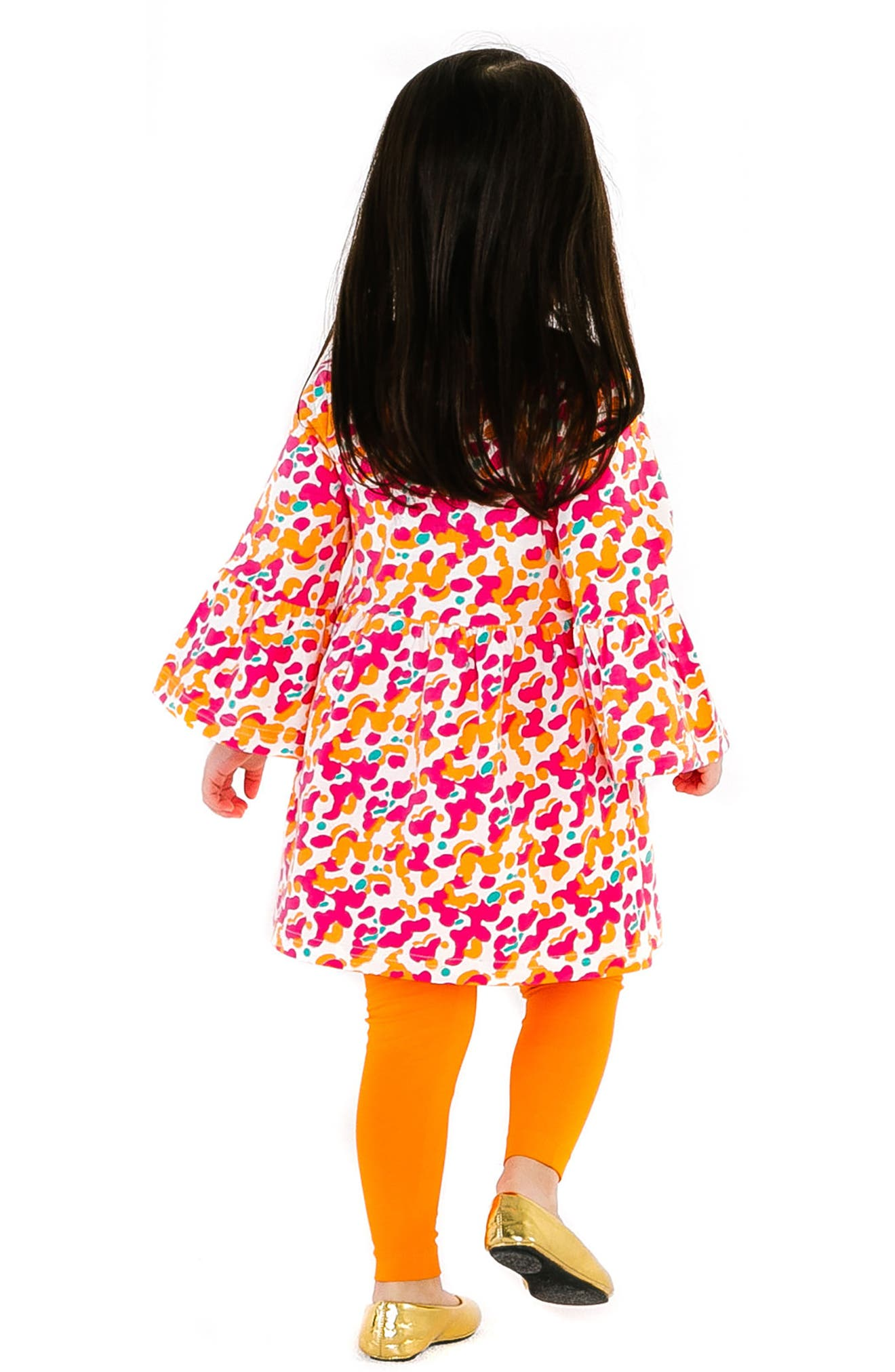 Spotted Stretch Organic Cotton Dress,                             Alternate thumbnail 2, color,                             PINK