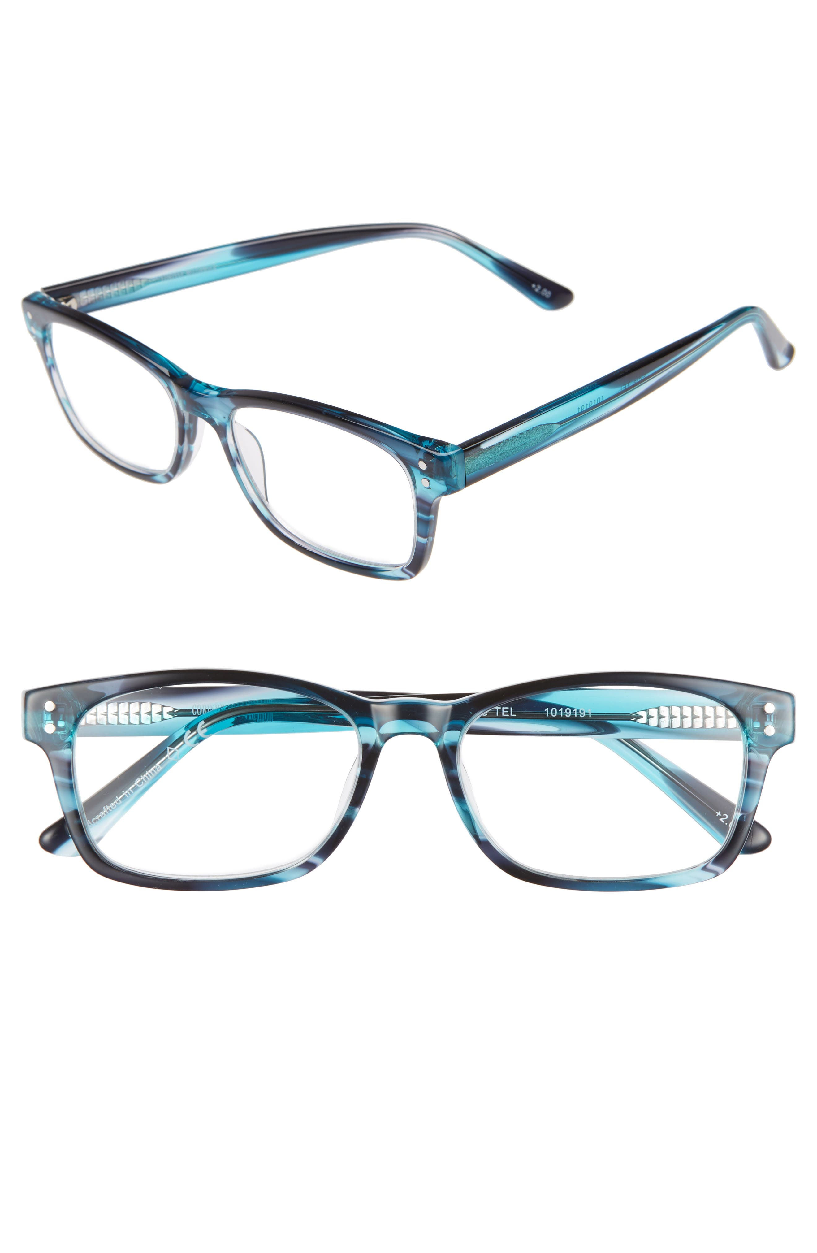 Edie 52mm Reading Glasses,                         Main,                         color, TEAL BLUE