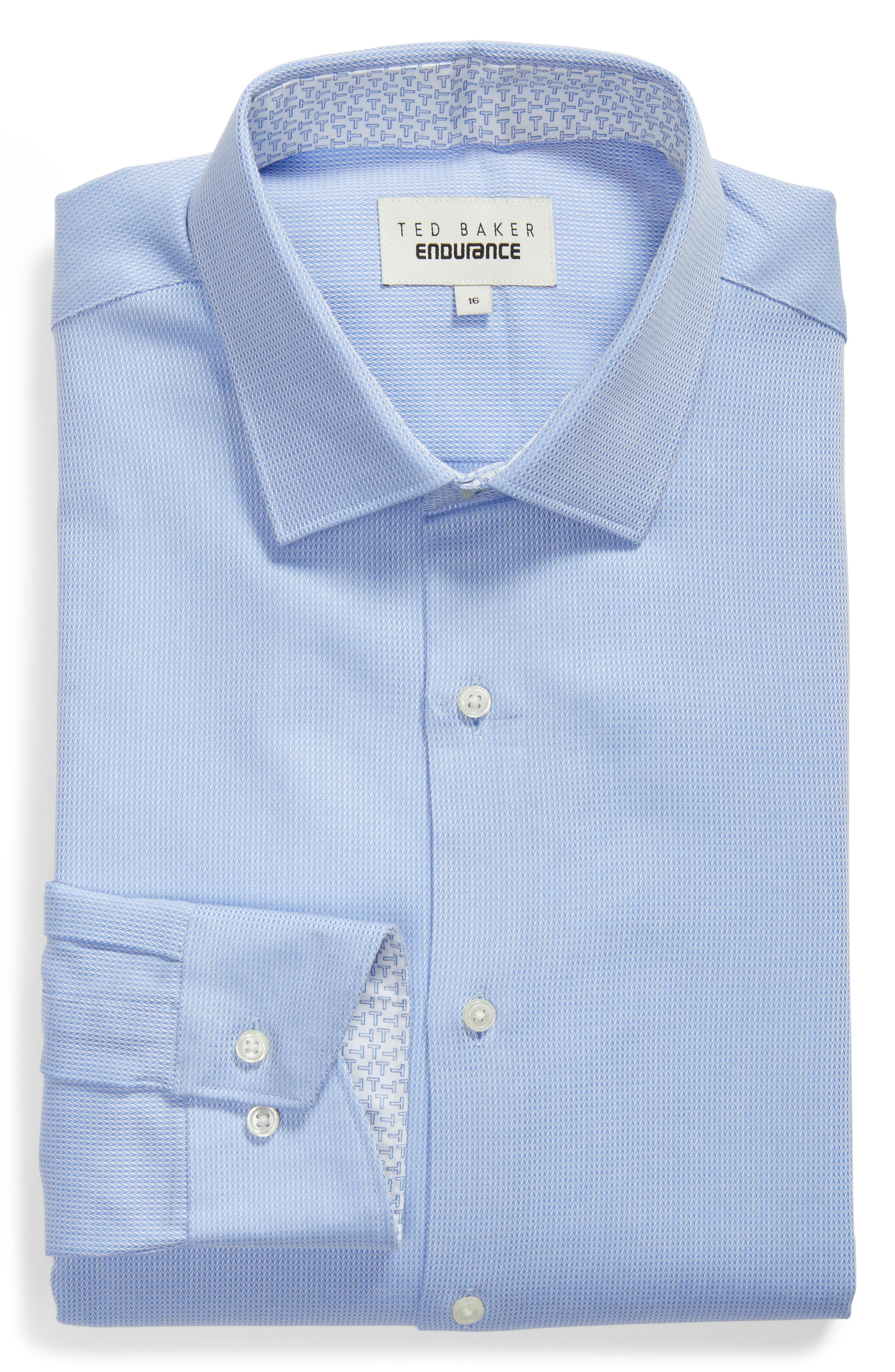 Trim Fit Stretch Performance Dress Shirt,                             Alternate thumbnail 5, color,                             BLUE