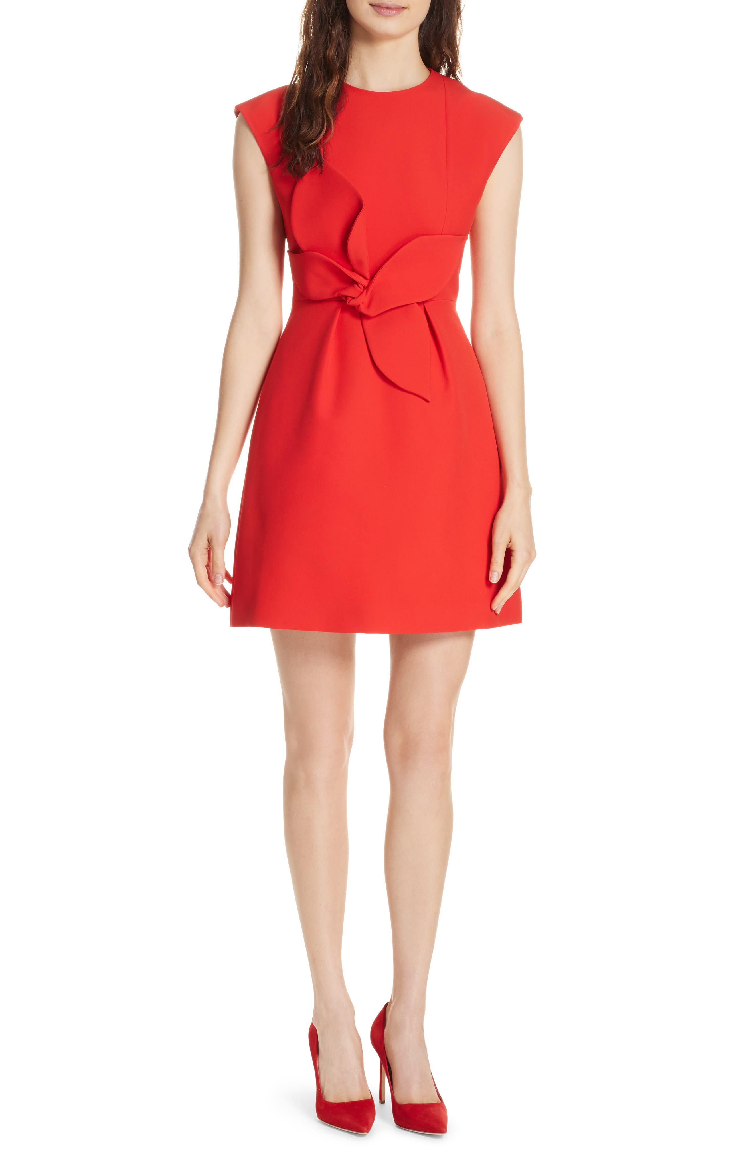 Polly Structured Bow Dress,                         Main,                         color, MID RED