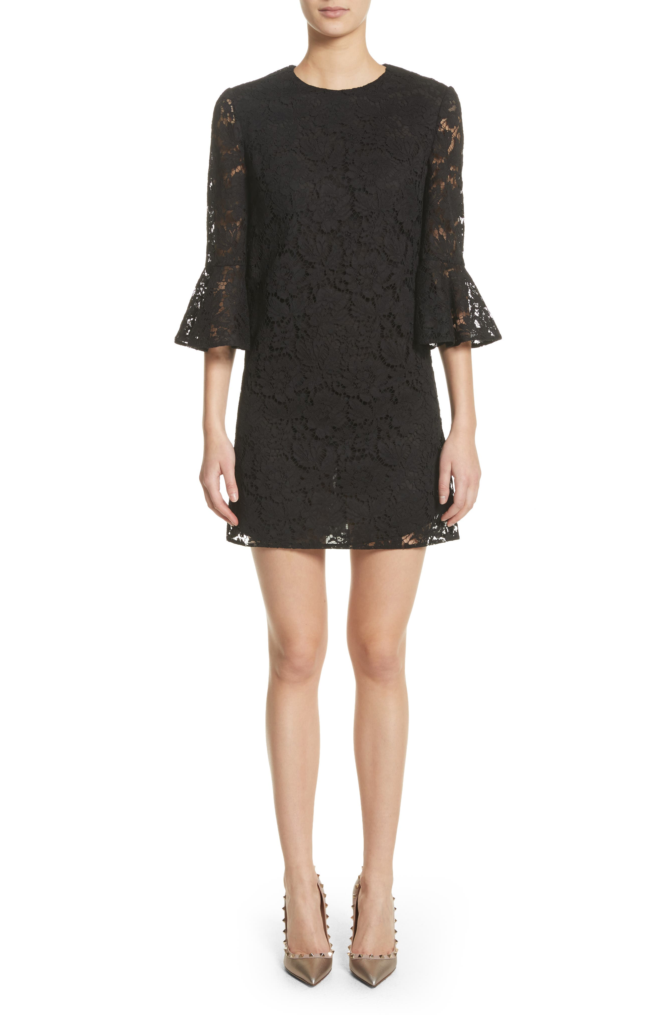 Lace Bell Sleeve Dress,                             Main thumbnail 1, color,                             001